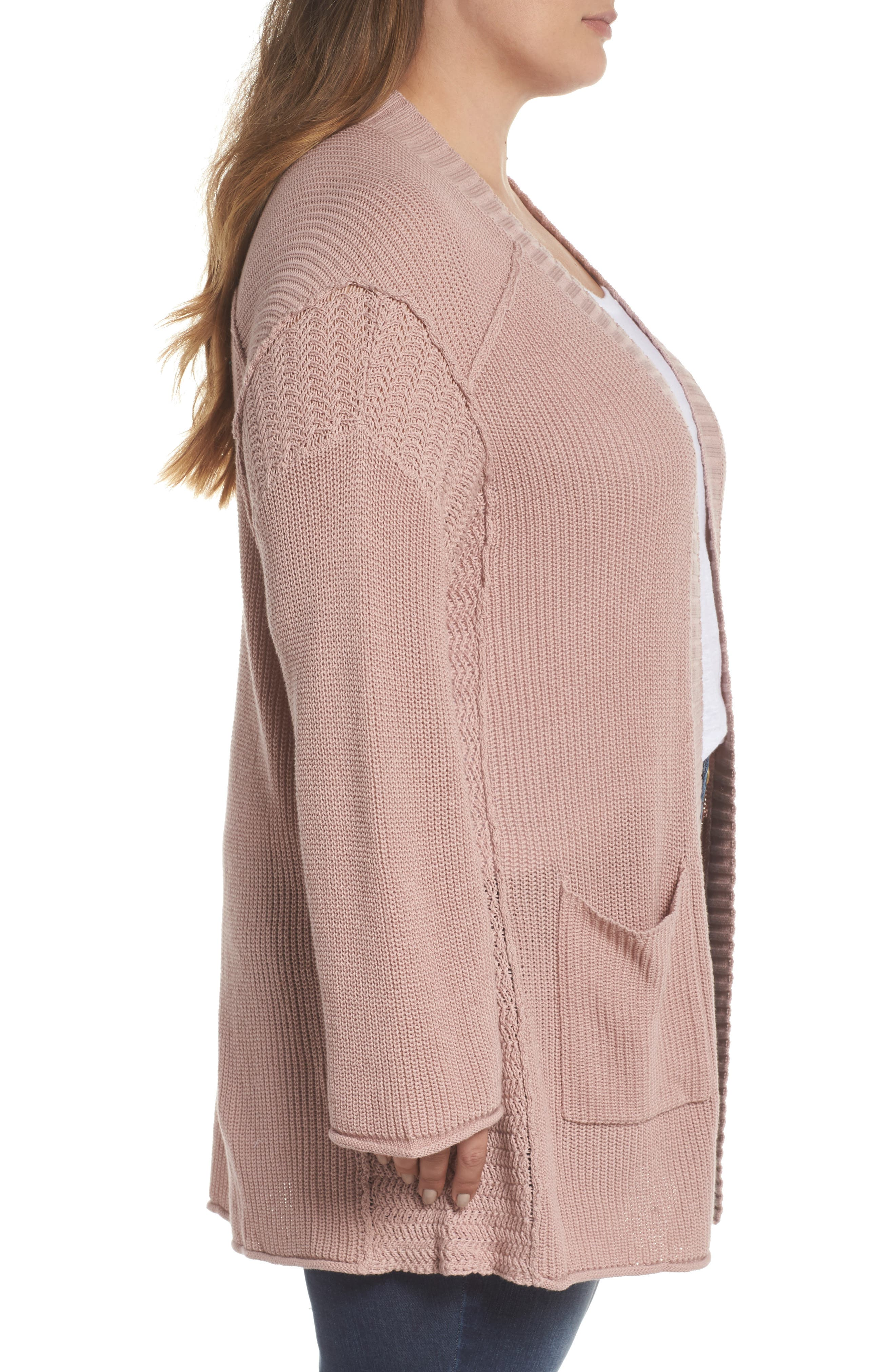 Sweater Knit Cardigan,                             Alternate thumbnail 3, color,                             Pink Adobe
