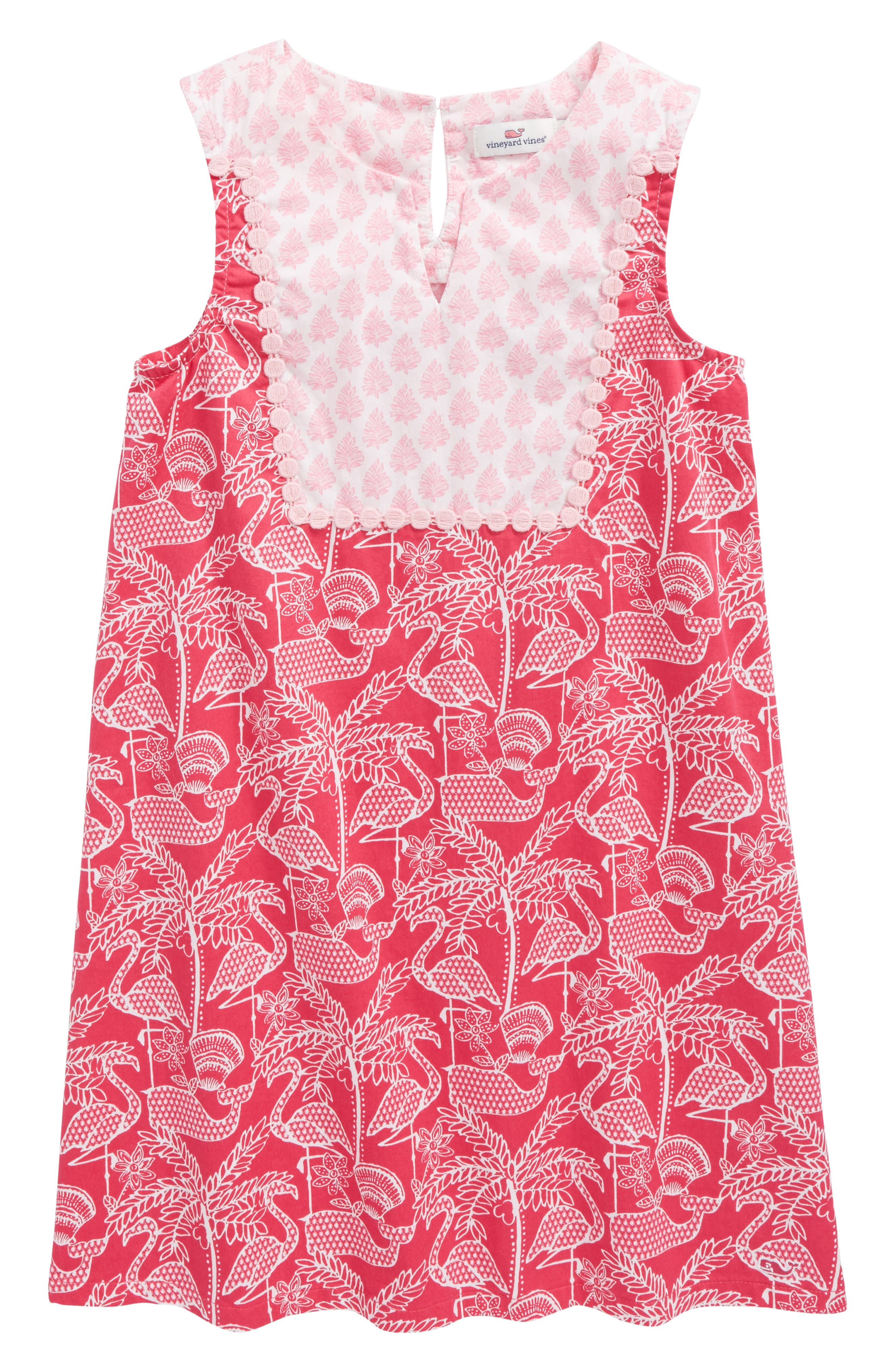 Flamingo Print Shift Dress,                             Main thumbnail 1, color,                             Rhododendron