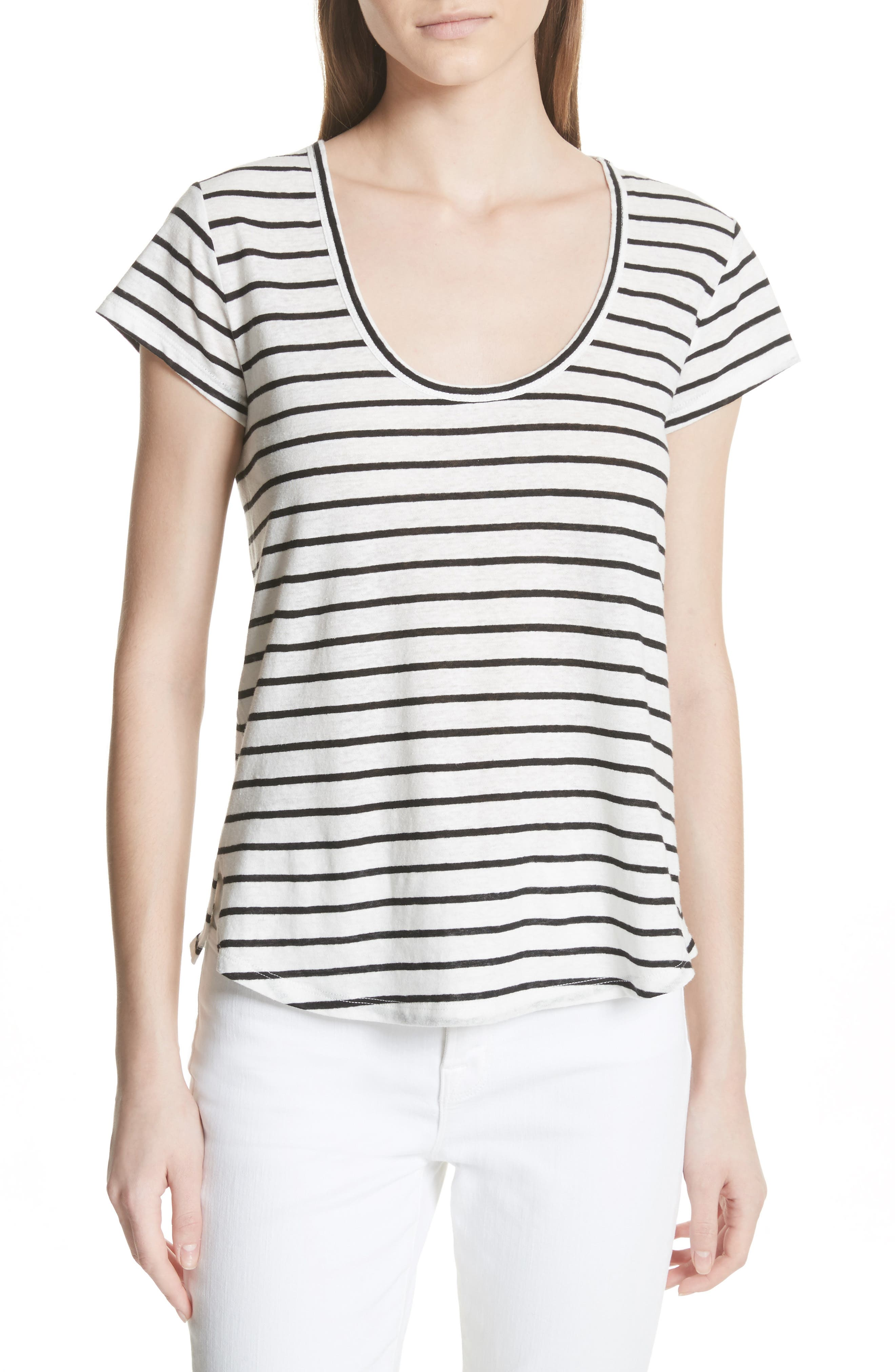 Navigate Stripe Linen Cotton Tee,                         Main,                         color, White/ Black