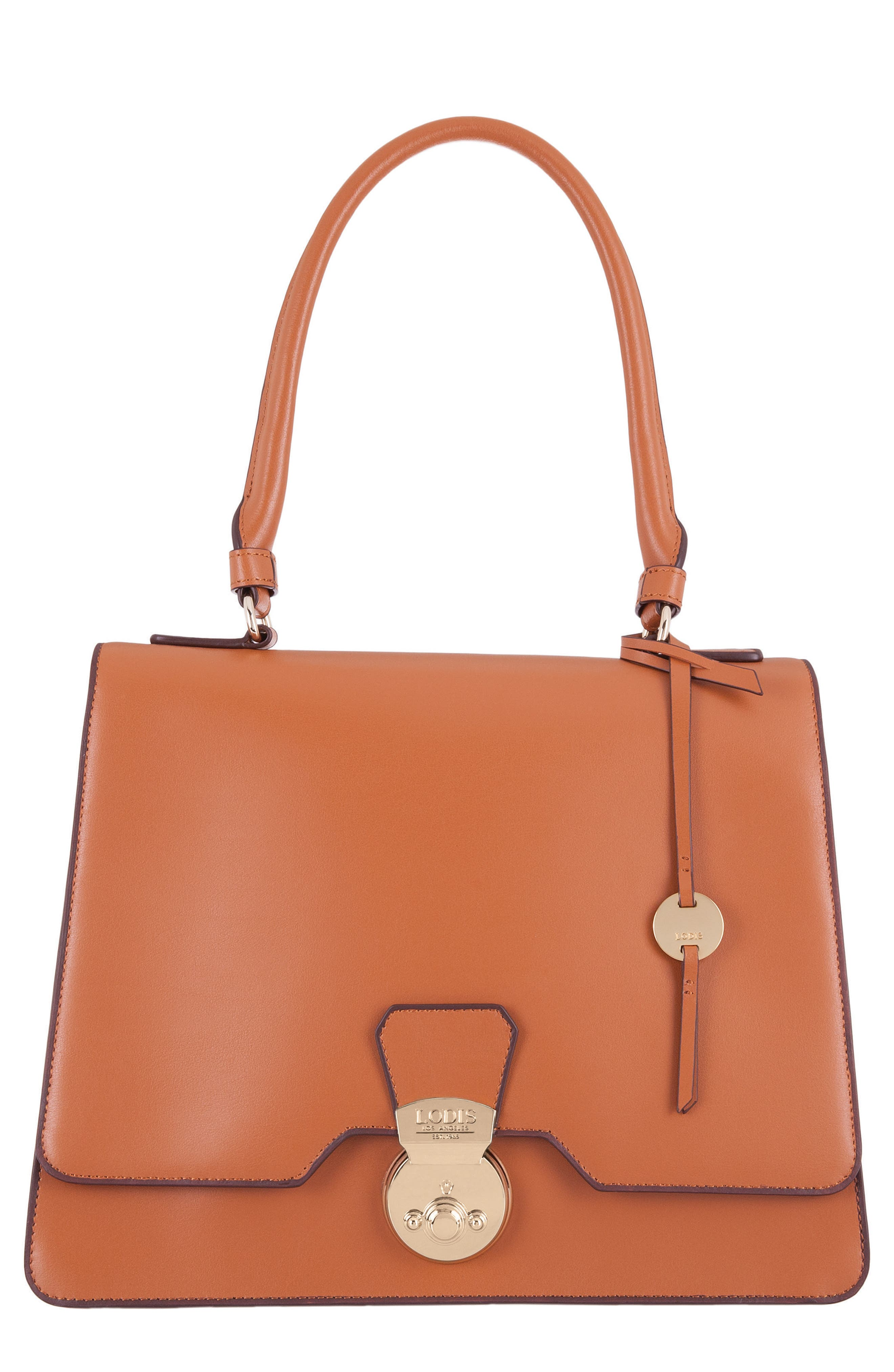 Rodeo Under Lock & Key – Justina RFID Leather Satchel,                             Main thumbnail 1, color,                             Toffee