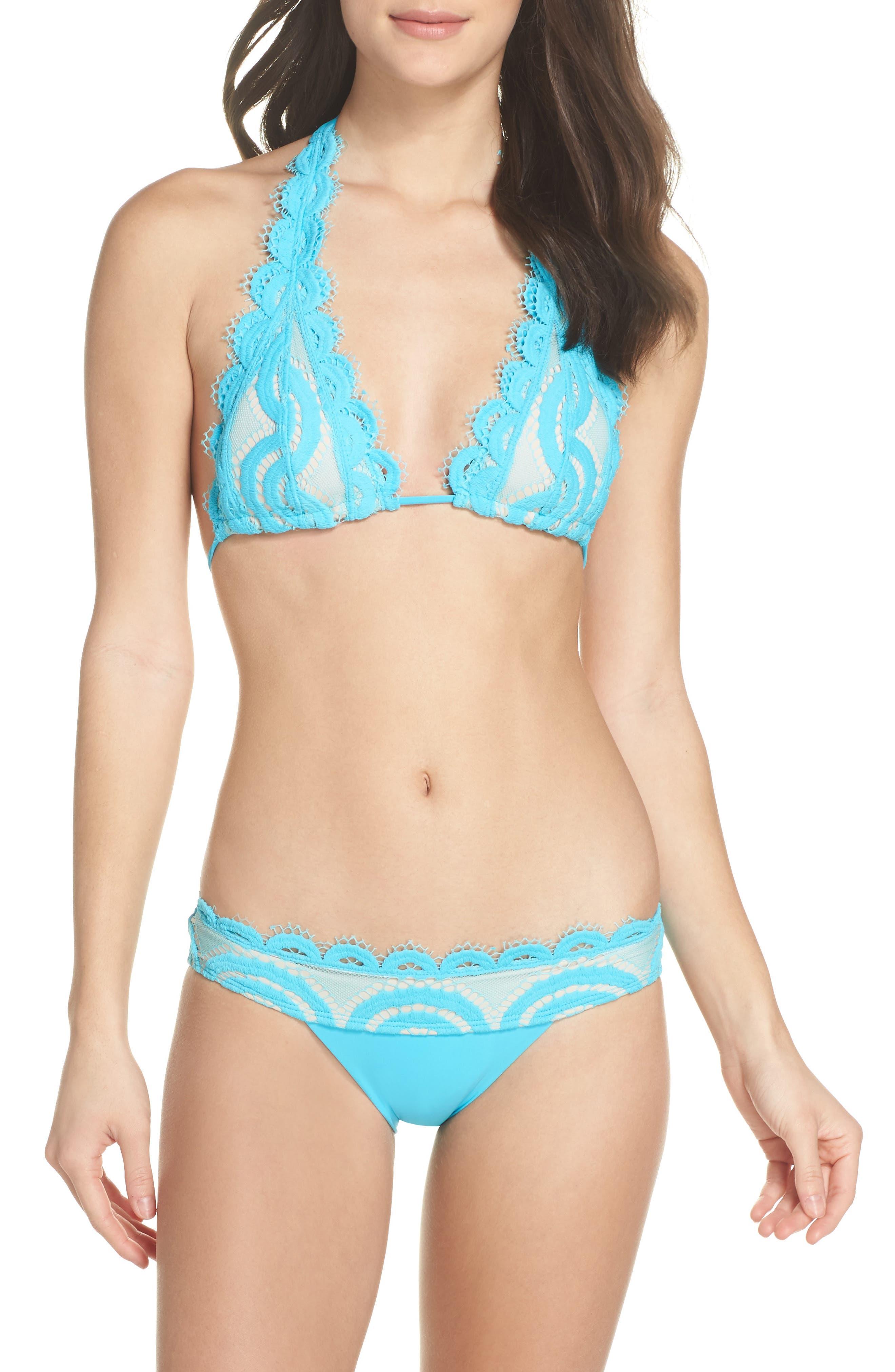 Banded Lace Bikini Bottoms,                             Alternate thumbnail 5, color,                             Marine