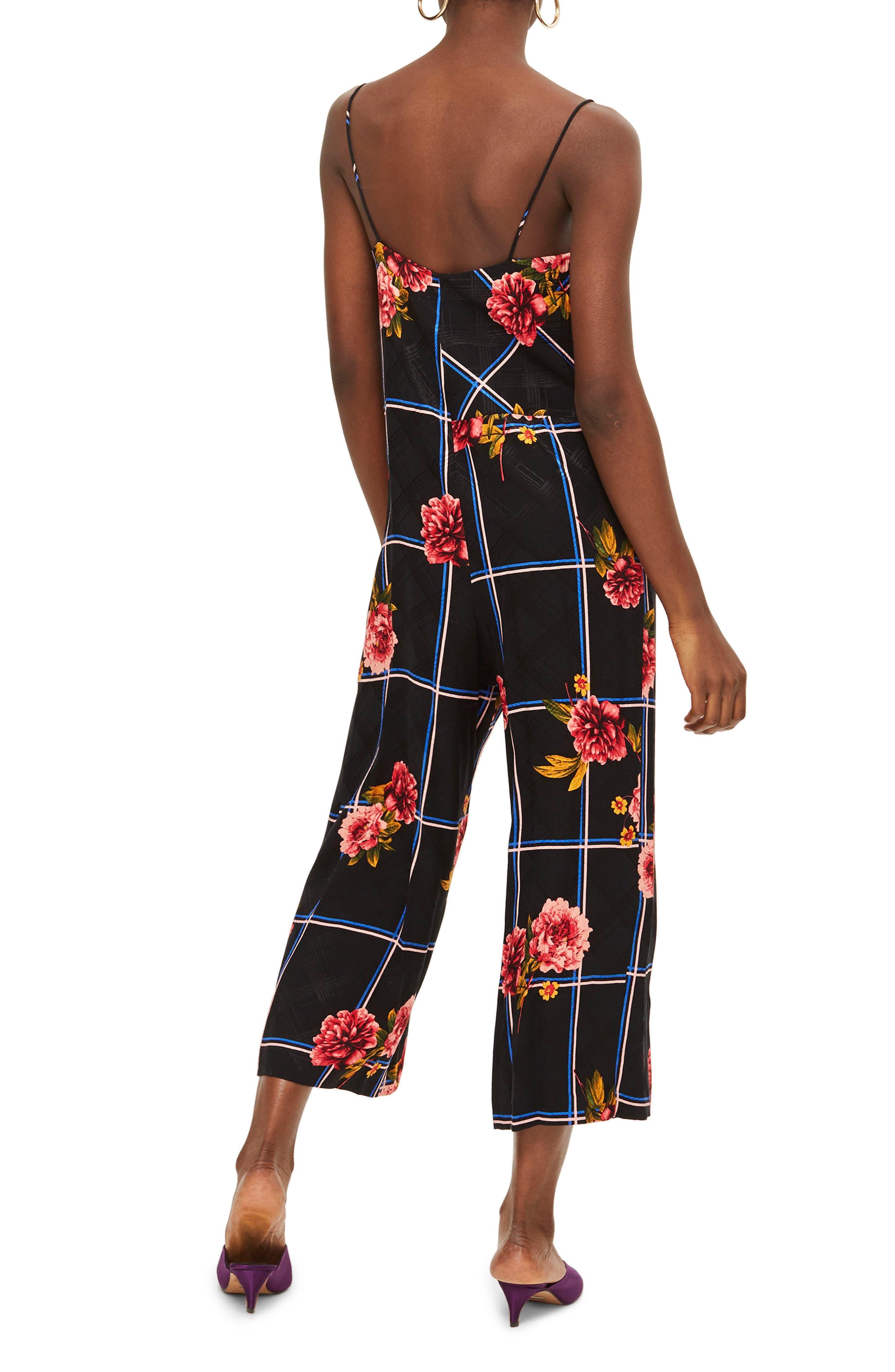 Check Floral Jumpsuit,                             Alternate thumbnail 2, color,                             Black Multi