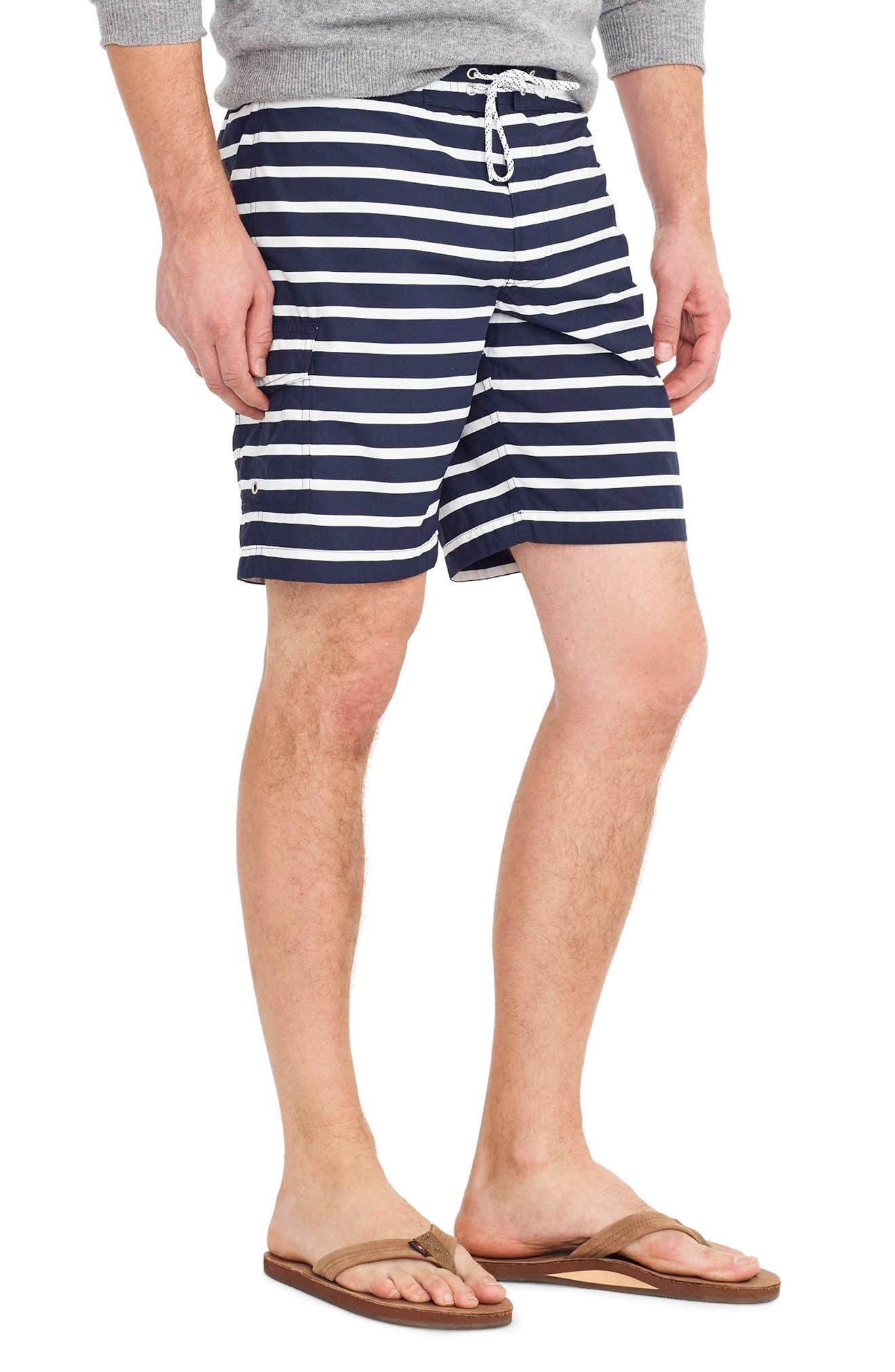 J.Crew Stripe Swim Trunks,                             Alternate thumbnail 3, color,                             Navy White
