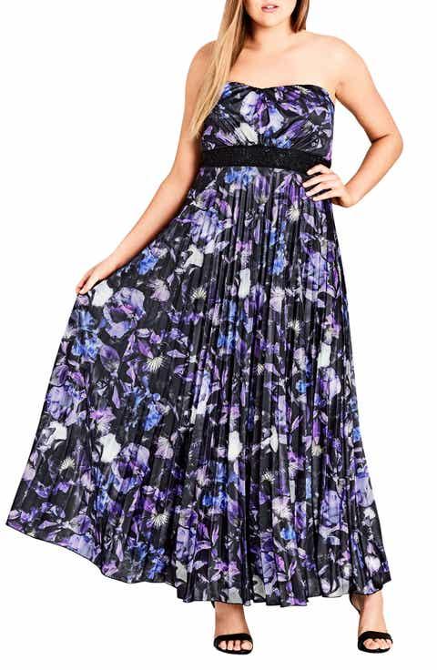 City Chic Lavender Floral Maxi Dress (Plus Size)