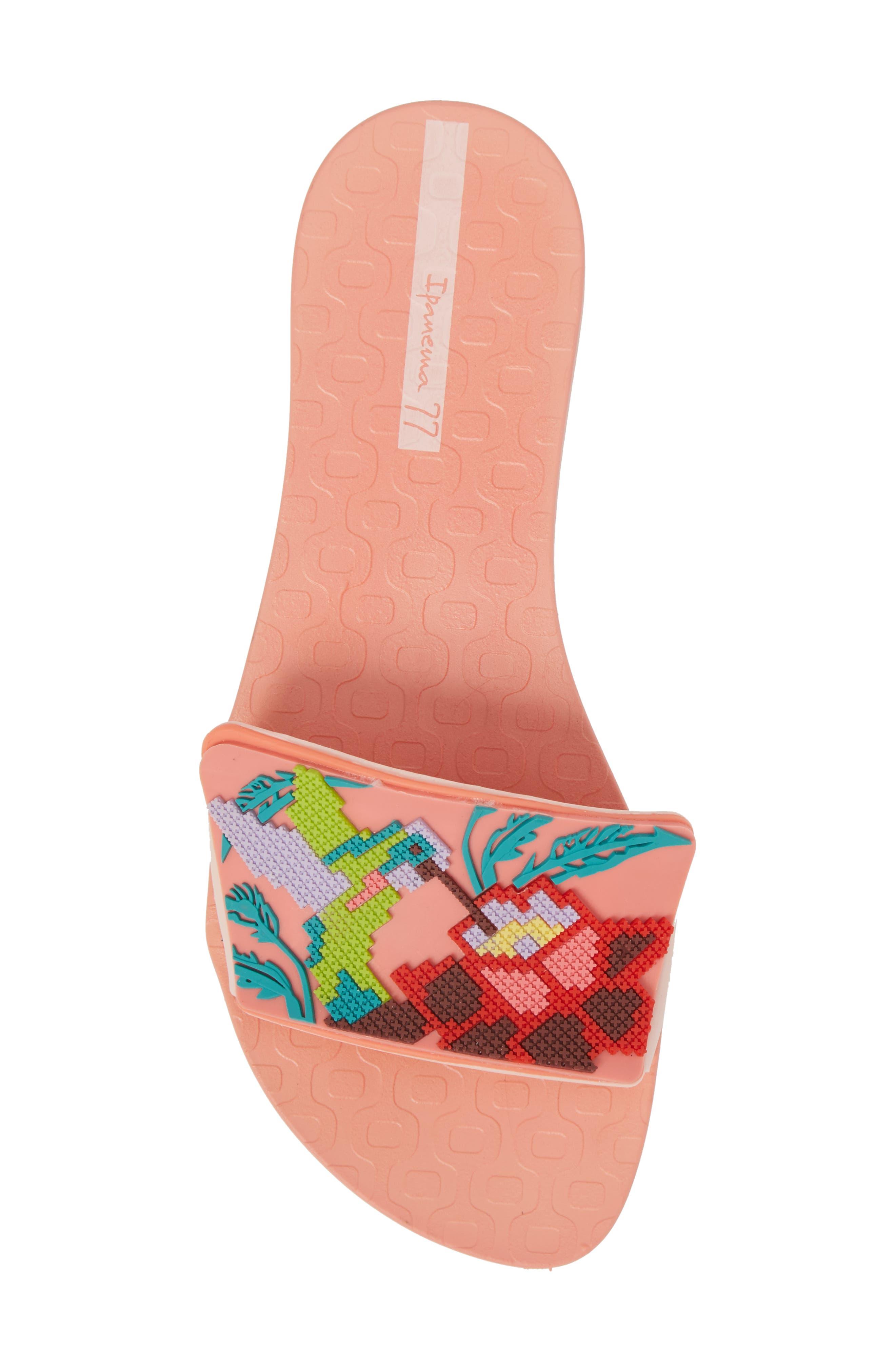Nectar Floral Slide Sandal,                             Alternate thumbnail 5, color,                             Orange/ Pink