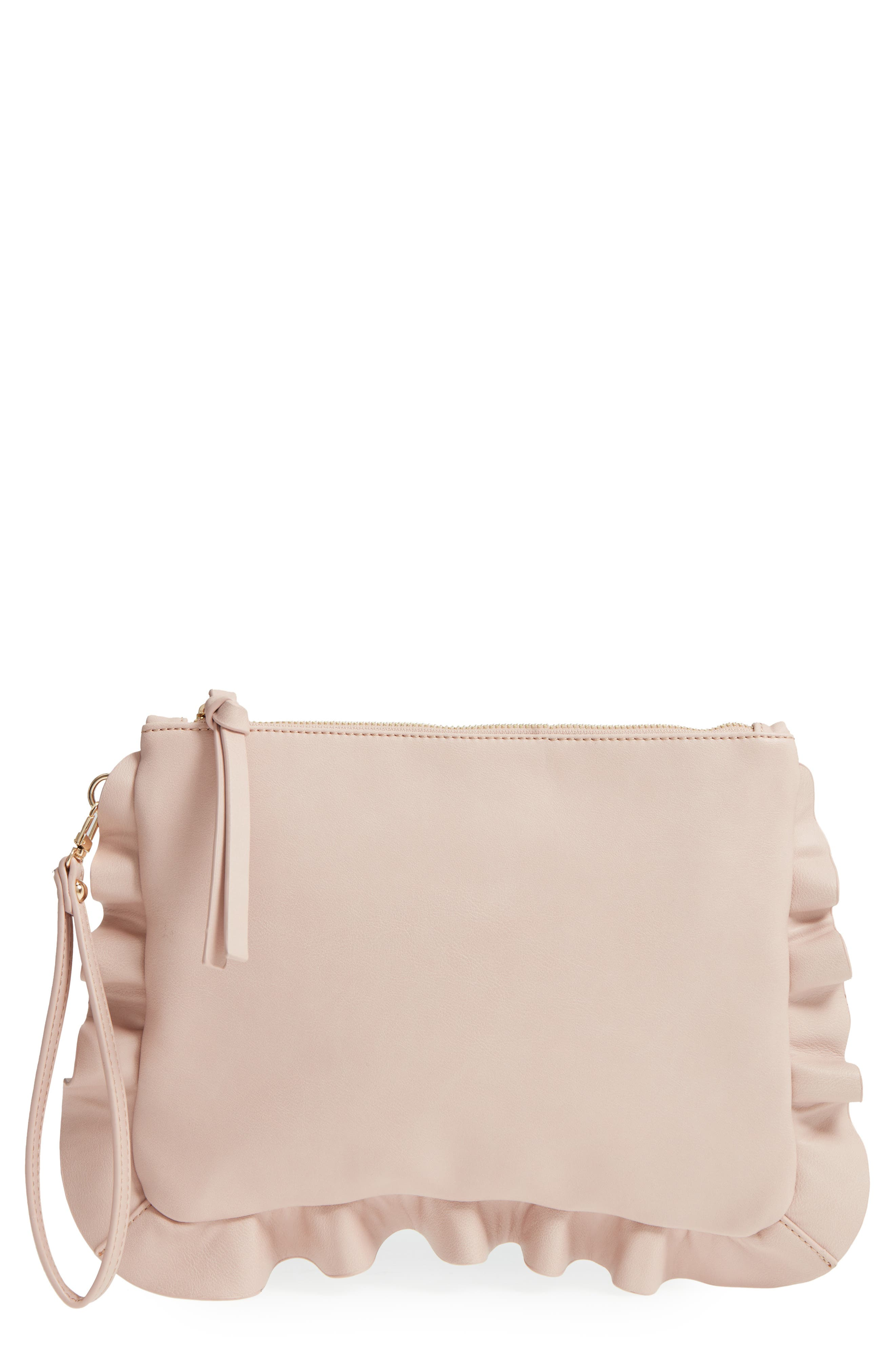 Adelina Faux Leather Ruffle Clutch,                             Main thumbnail 1, color,                             Blush