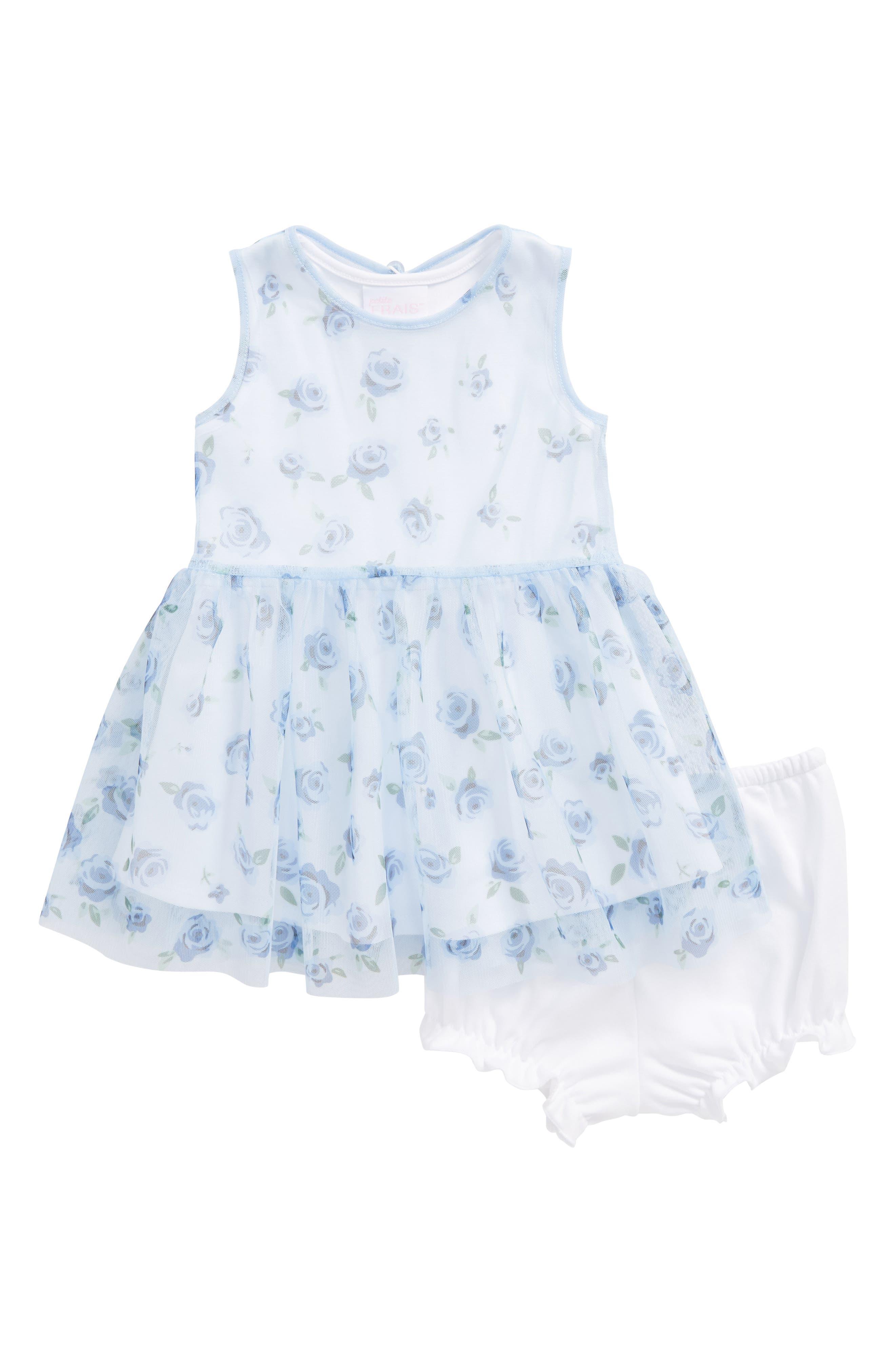 Floral Print Mesh Dress,                         Main,                         color, Light Blue