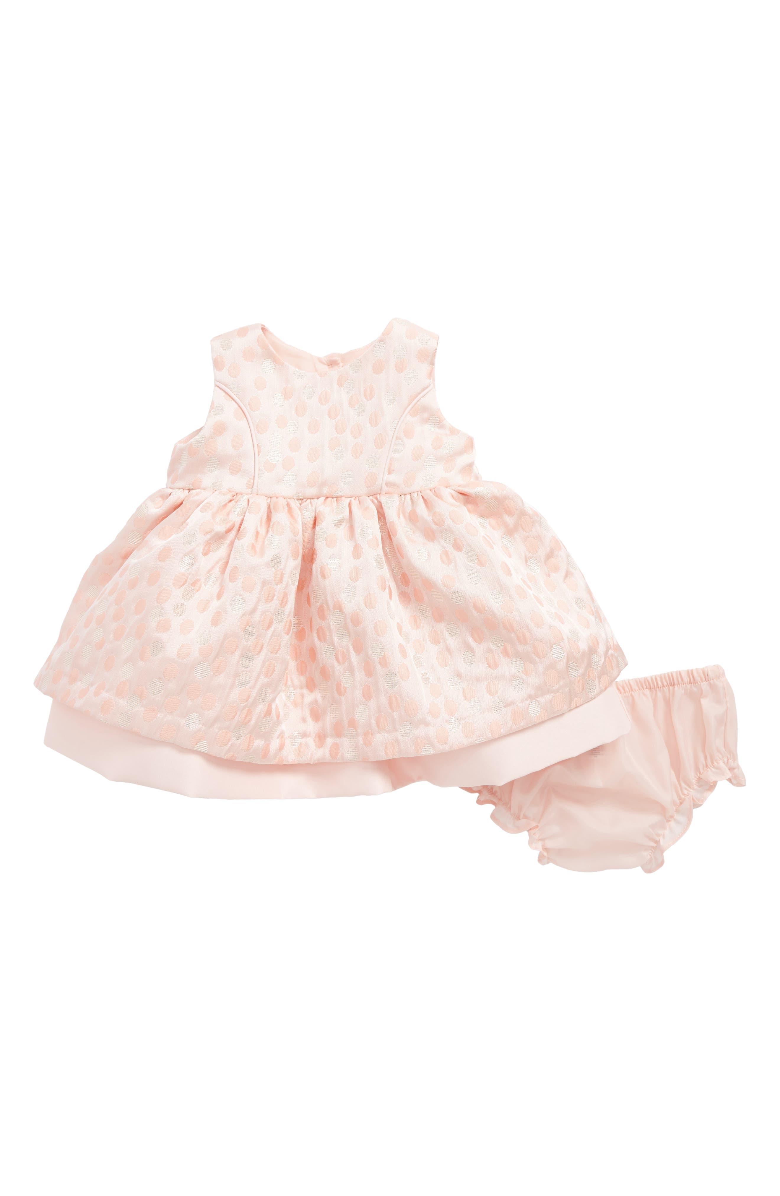 Main Image - Frais Metallic Dot Jacquard Dress (Baby Girls)