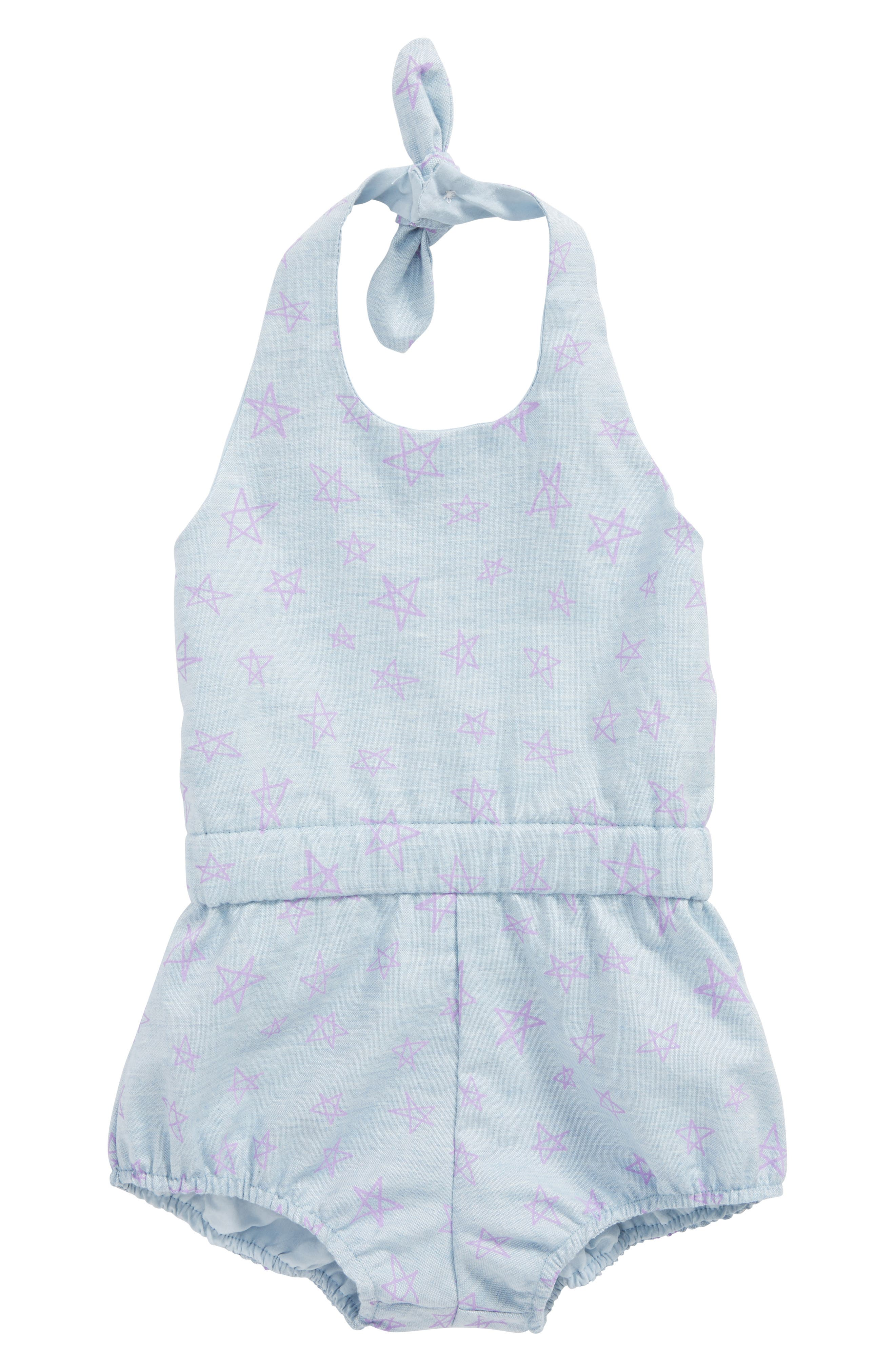 Layla Star Chambray Romper,                             Main thumbnail 1, color,                             Chambray With Purple Stars