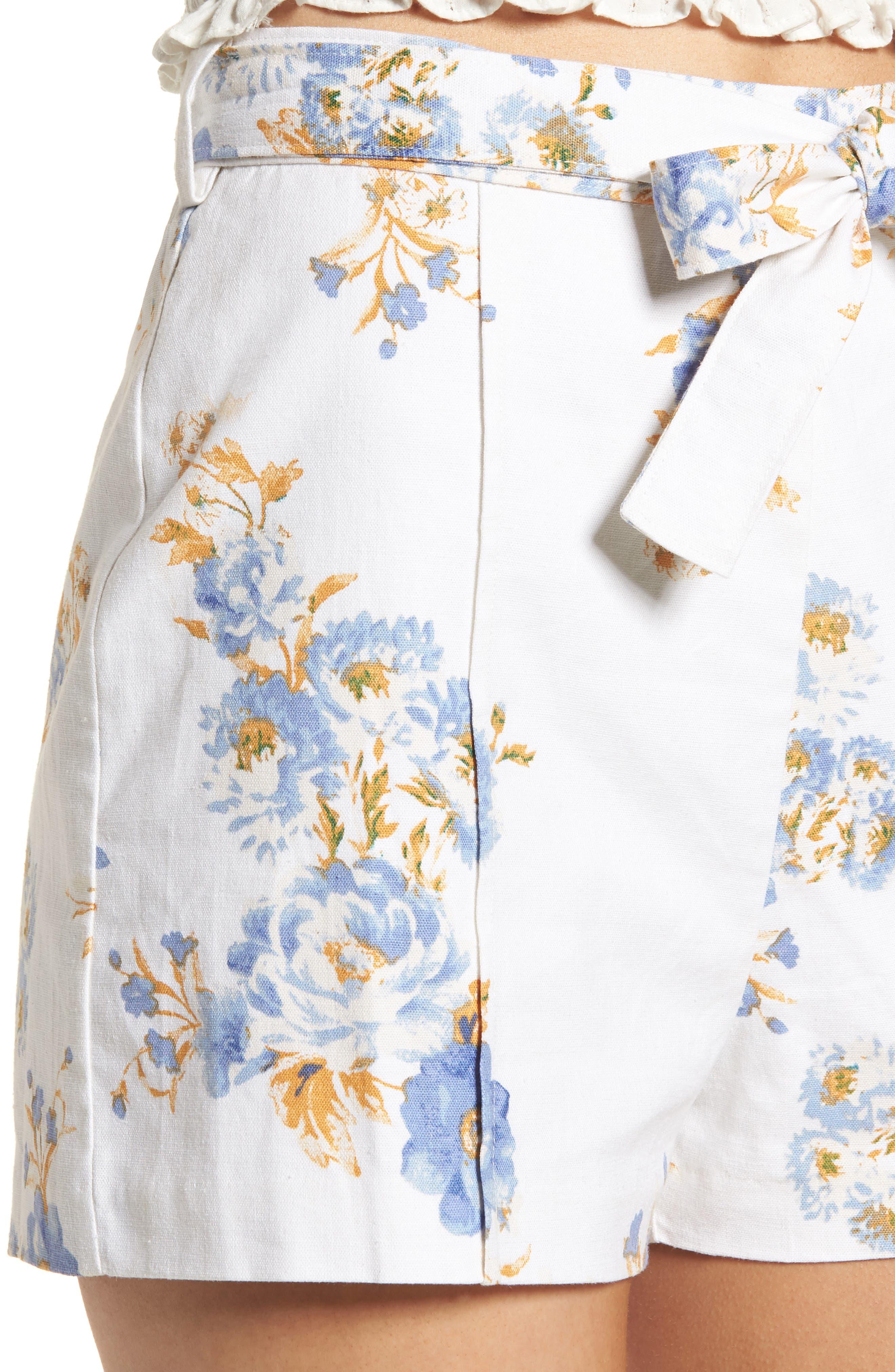 Matera High Waist Shorts,                             Alternate thumbnail 4, color,                             Ivory Floral