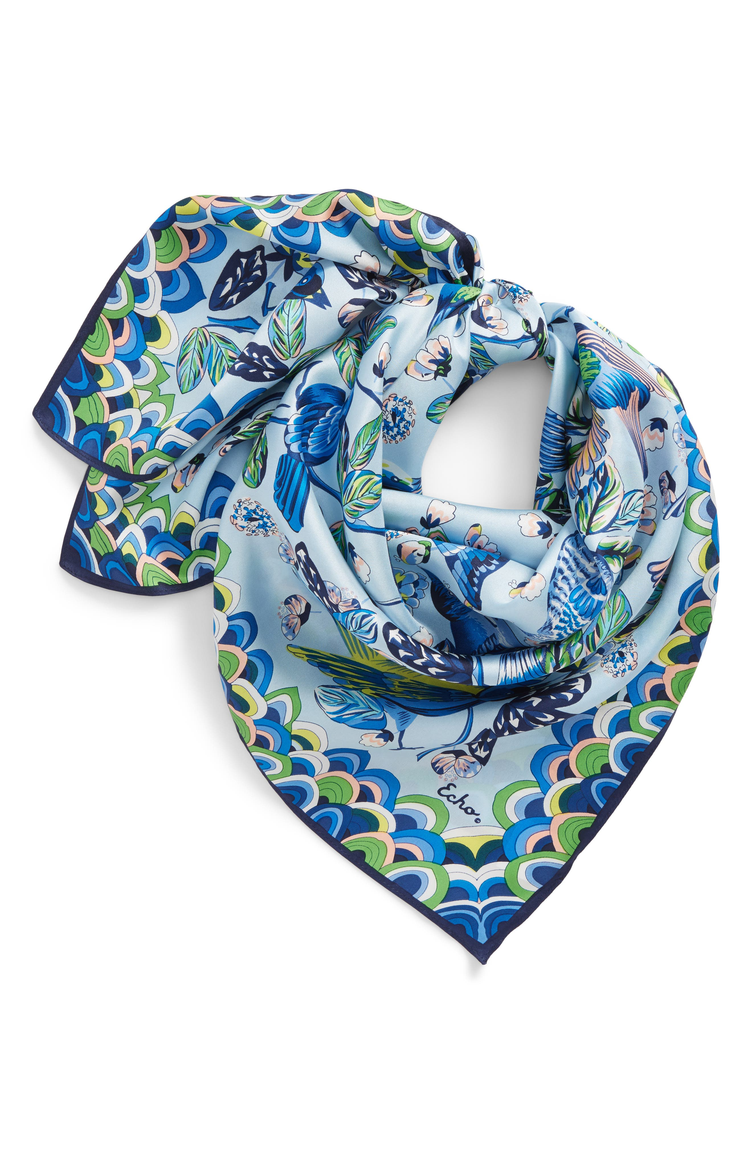 Flight of Fancy Square Silk Scarf,                             Alternate thumbnail 2, color,                             Blue Bell