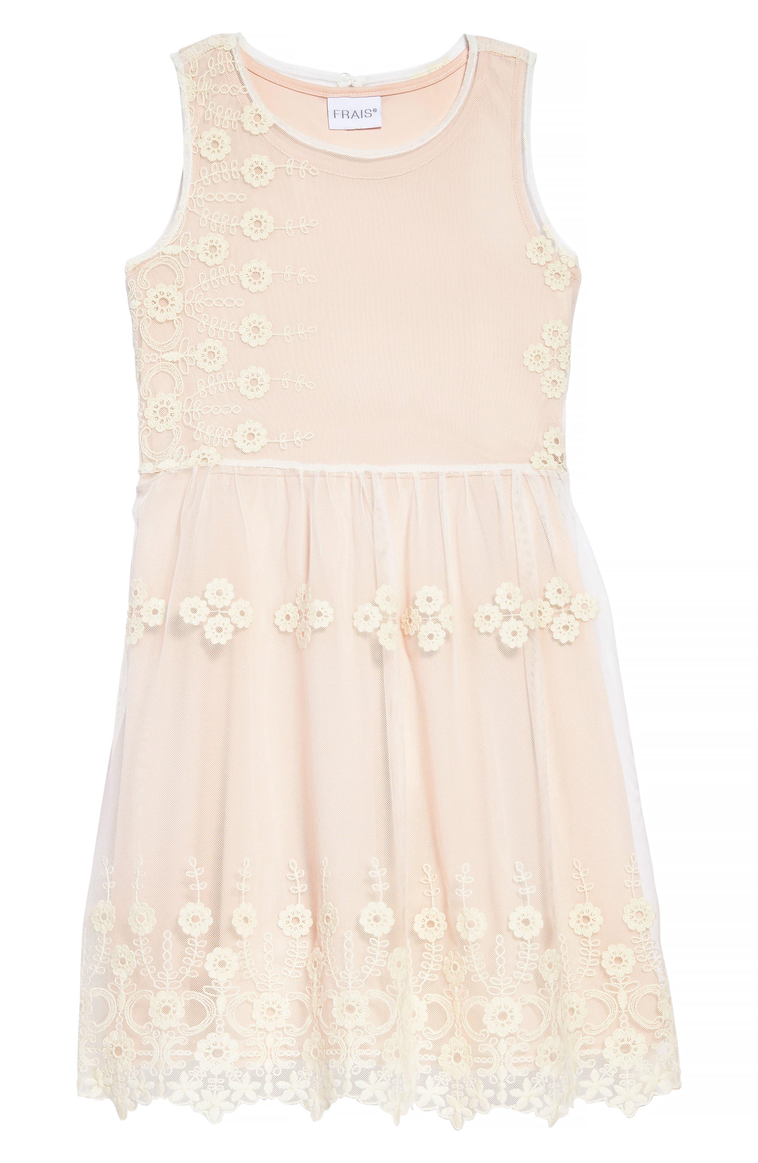 Frais Embroidered Mesh Dress (Toddler Girls, Little Girls & Big Girls)
