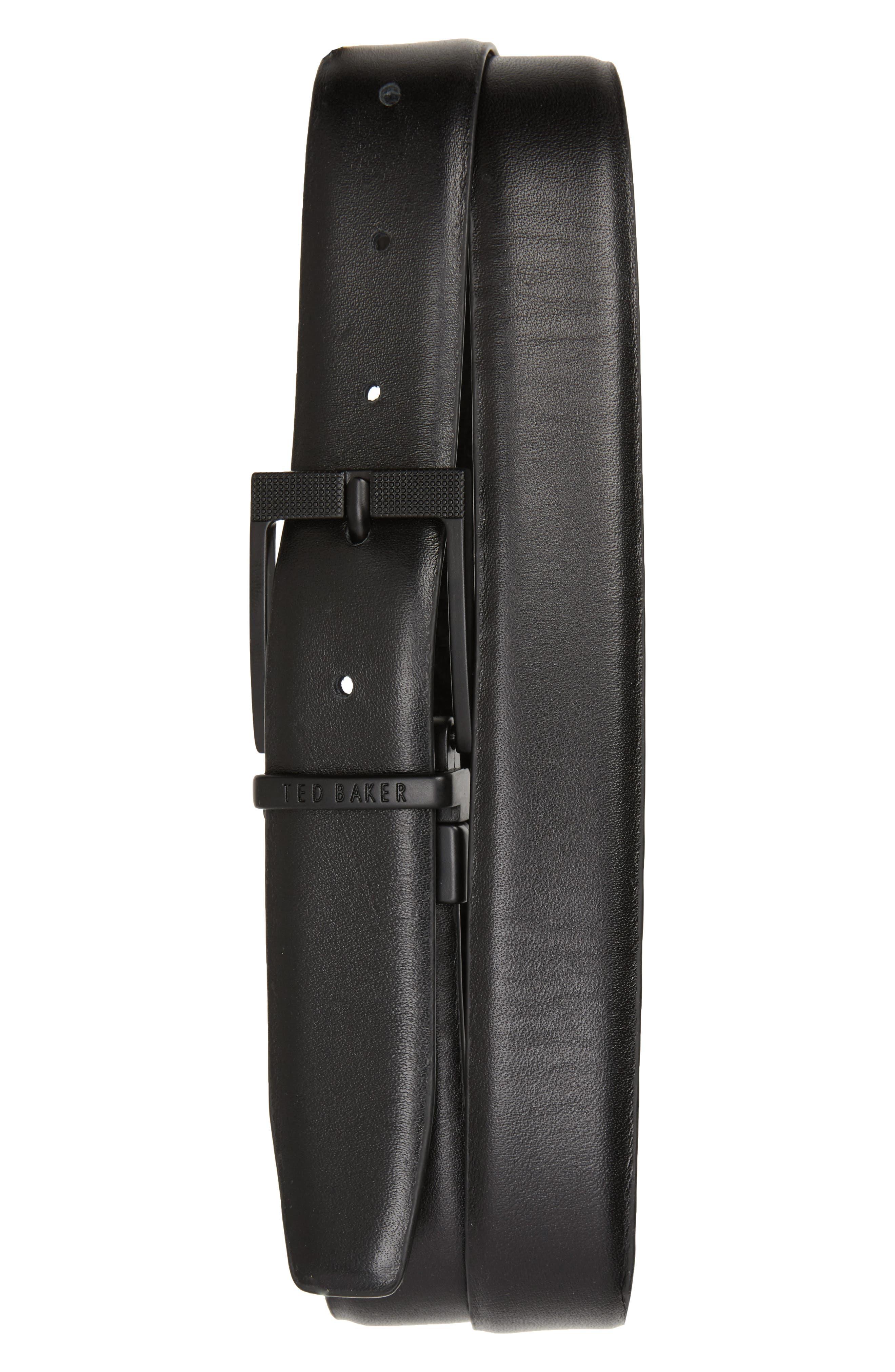 Leonne Reversible Leather Belt,                             Alternate thumbnail 2, color,                             Black