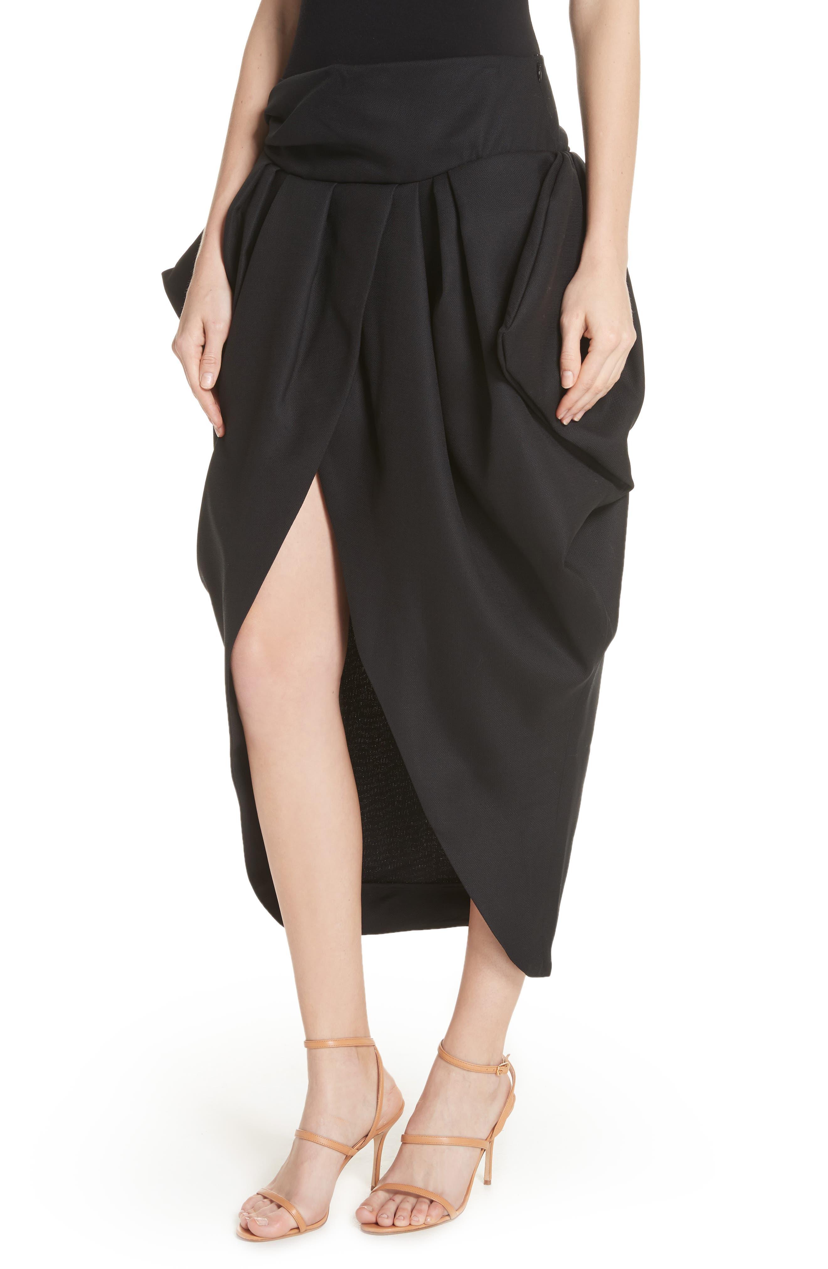 La Jupe Ilha Wool Midi Skirt,                             Alternate thumbnail 4, color,                             Black
