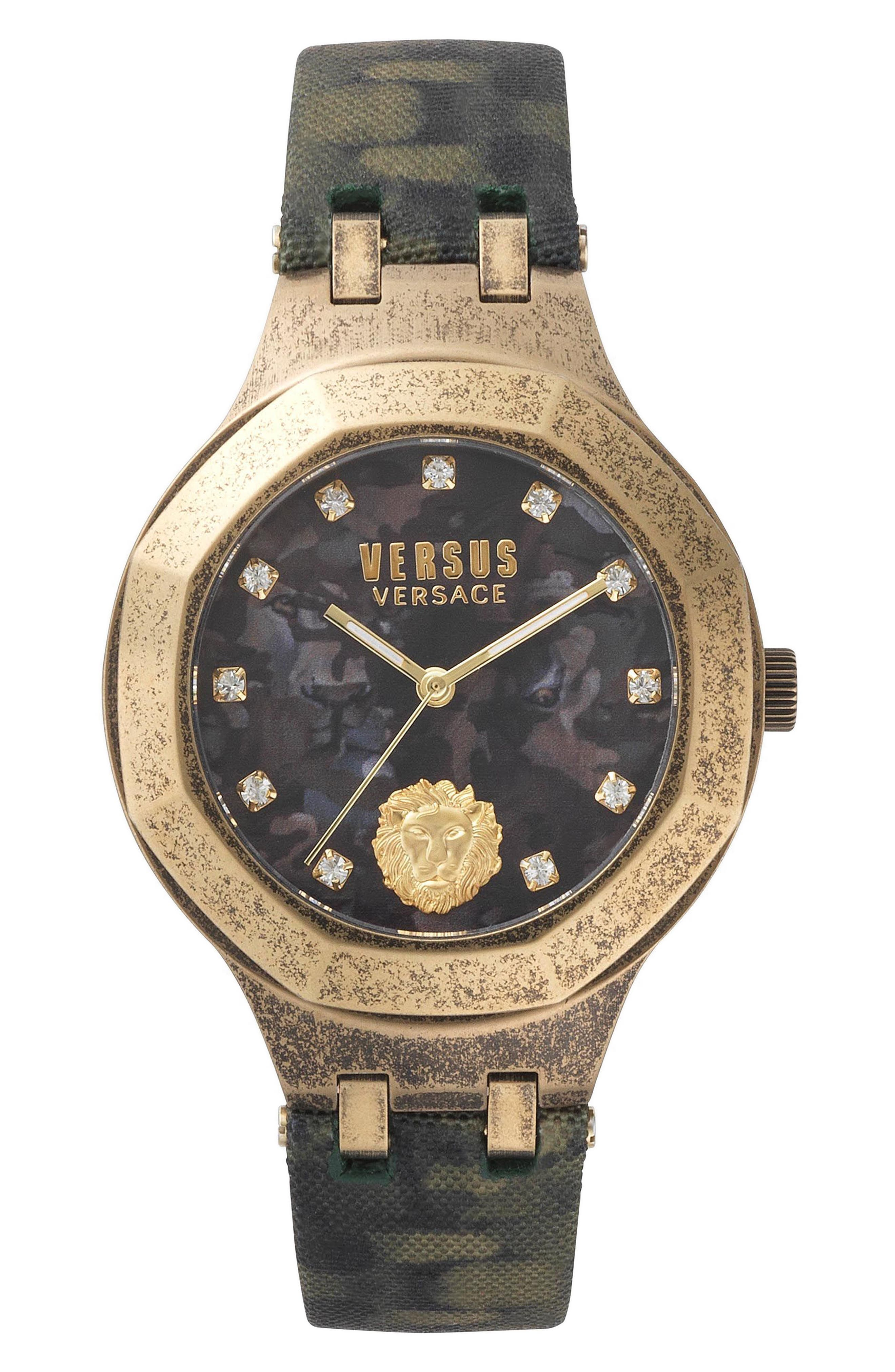 Versus by Versace Laguna City Leather Strap Watch, 40mm,                             Main thumbnail 1, color,                             Green/ Gold