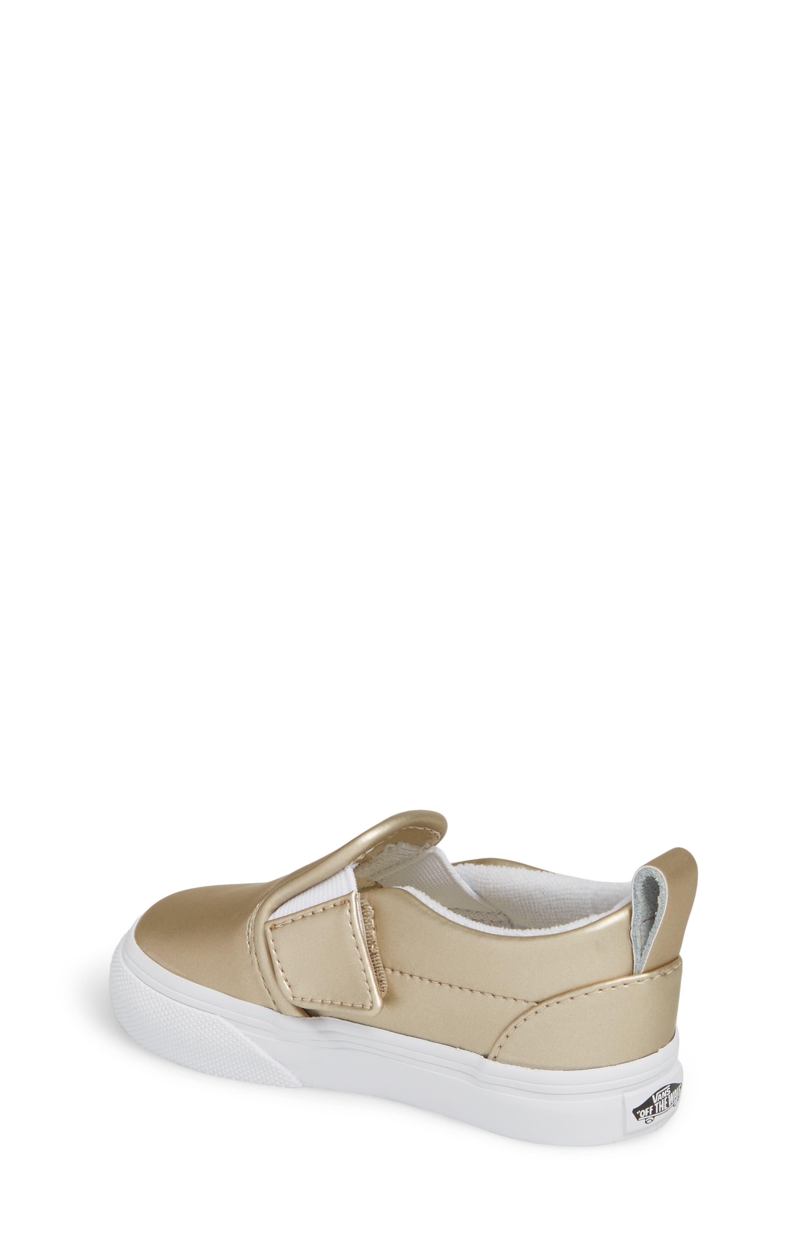 Classic Slip-On V Sneaker,                             Alternate thumbnail 2, color,                             Muted Metallic Gold/ White