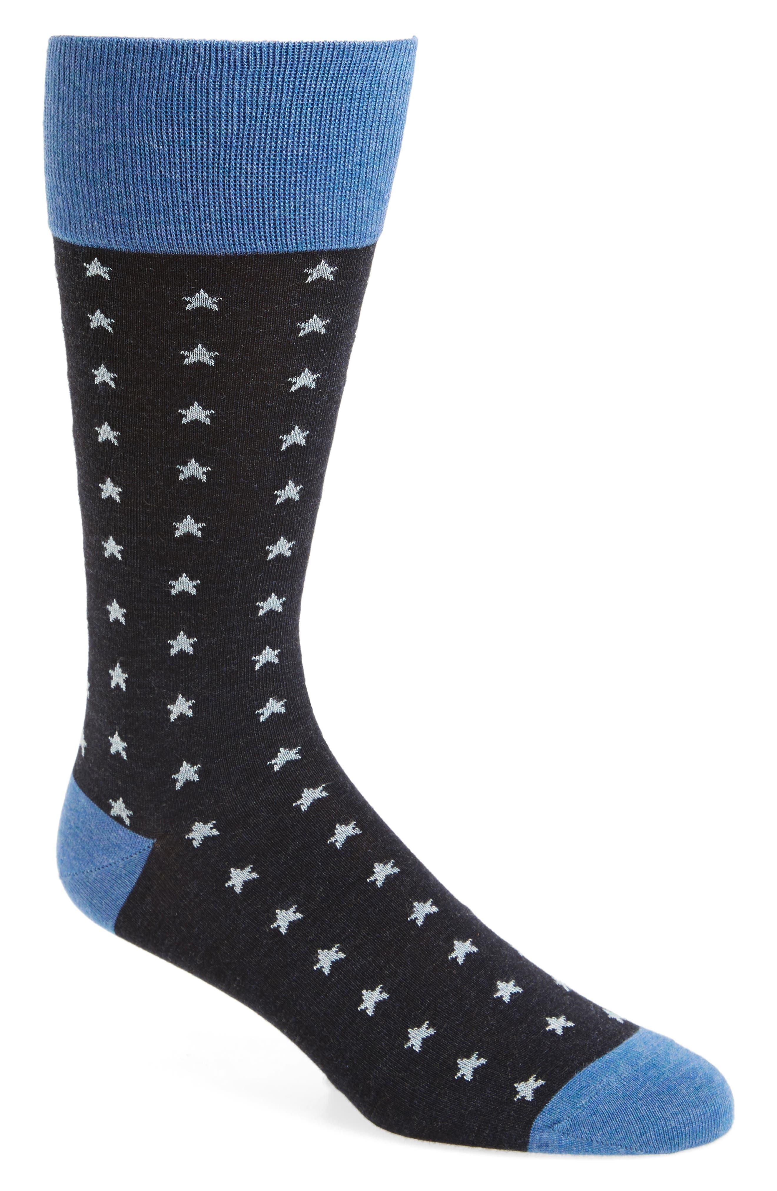 Mini Stars Socks,                             Main thumbnail 1, color,                             Navy Heather/ White