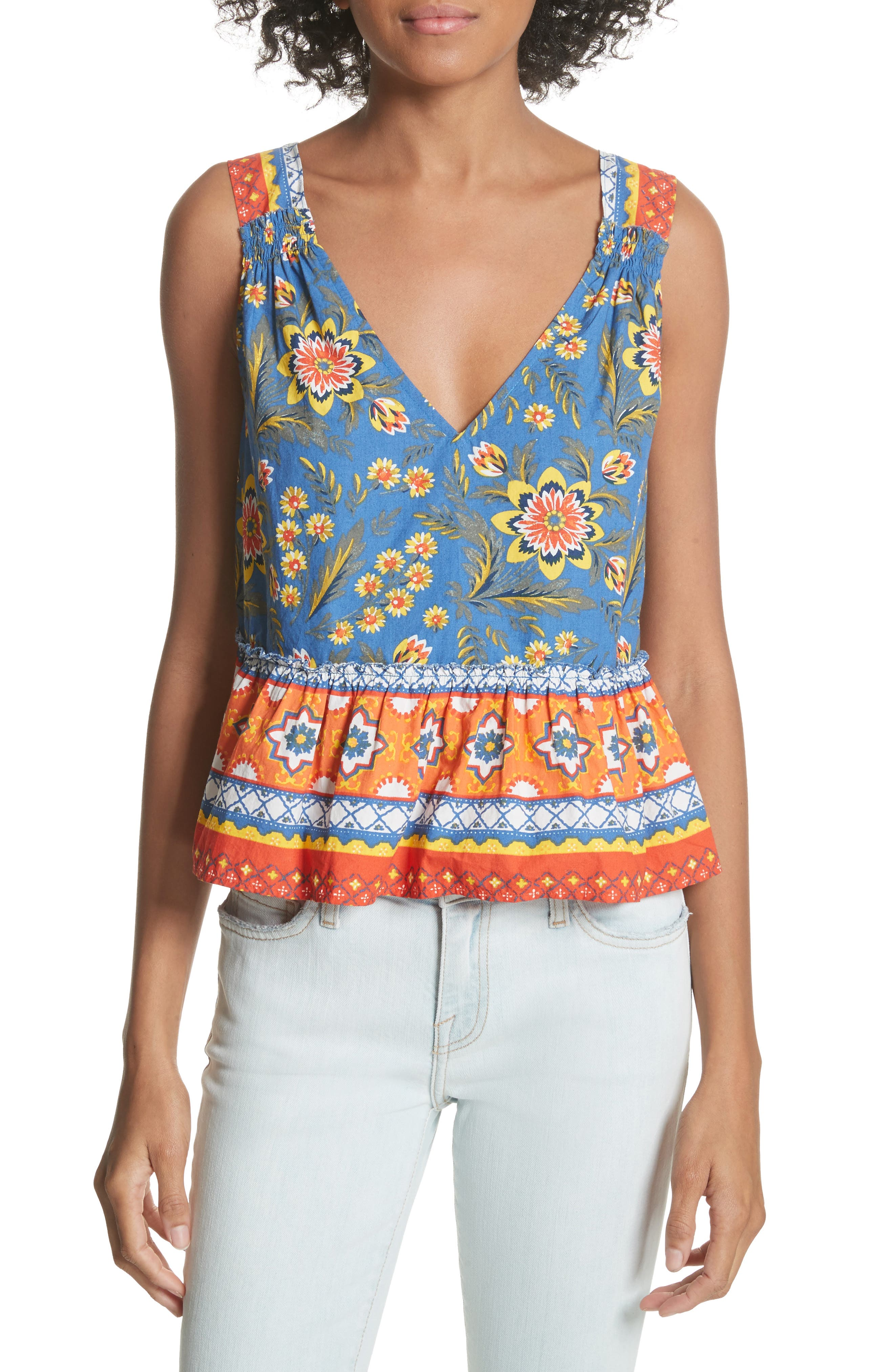 Alternate Image 1 Selected - Joie Chinaru Floral Peplum Cotton Top