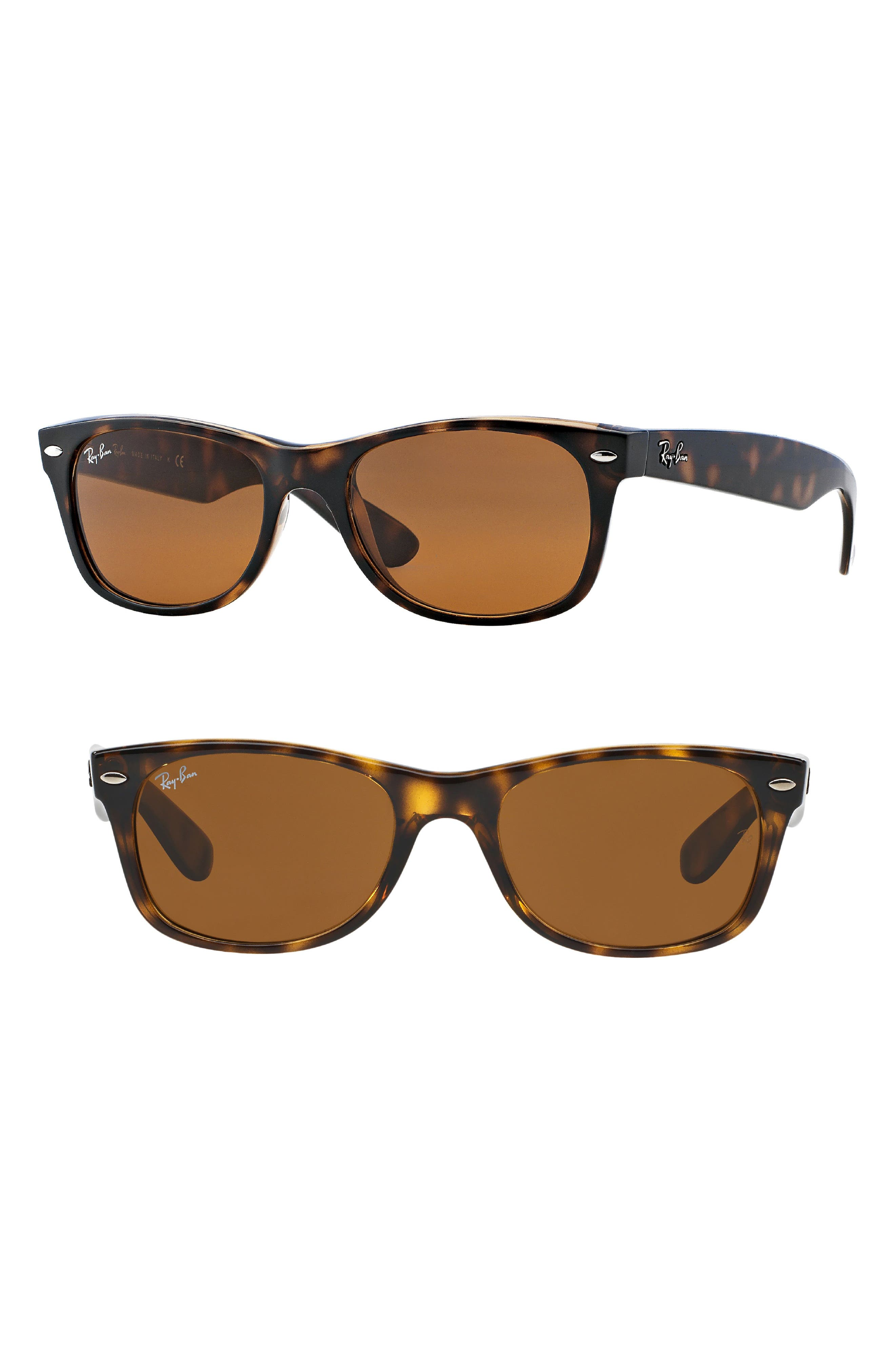 New Wayfarer Classic 55mm Sunglasses,                             Main thumbnail 1, color,                             Light Havana