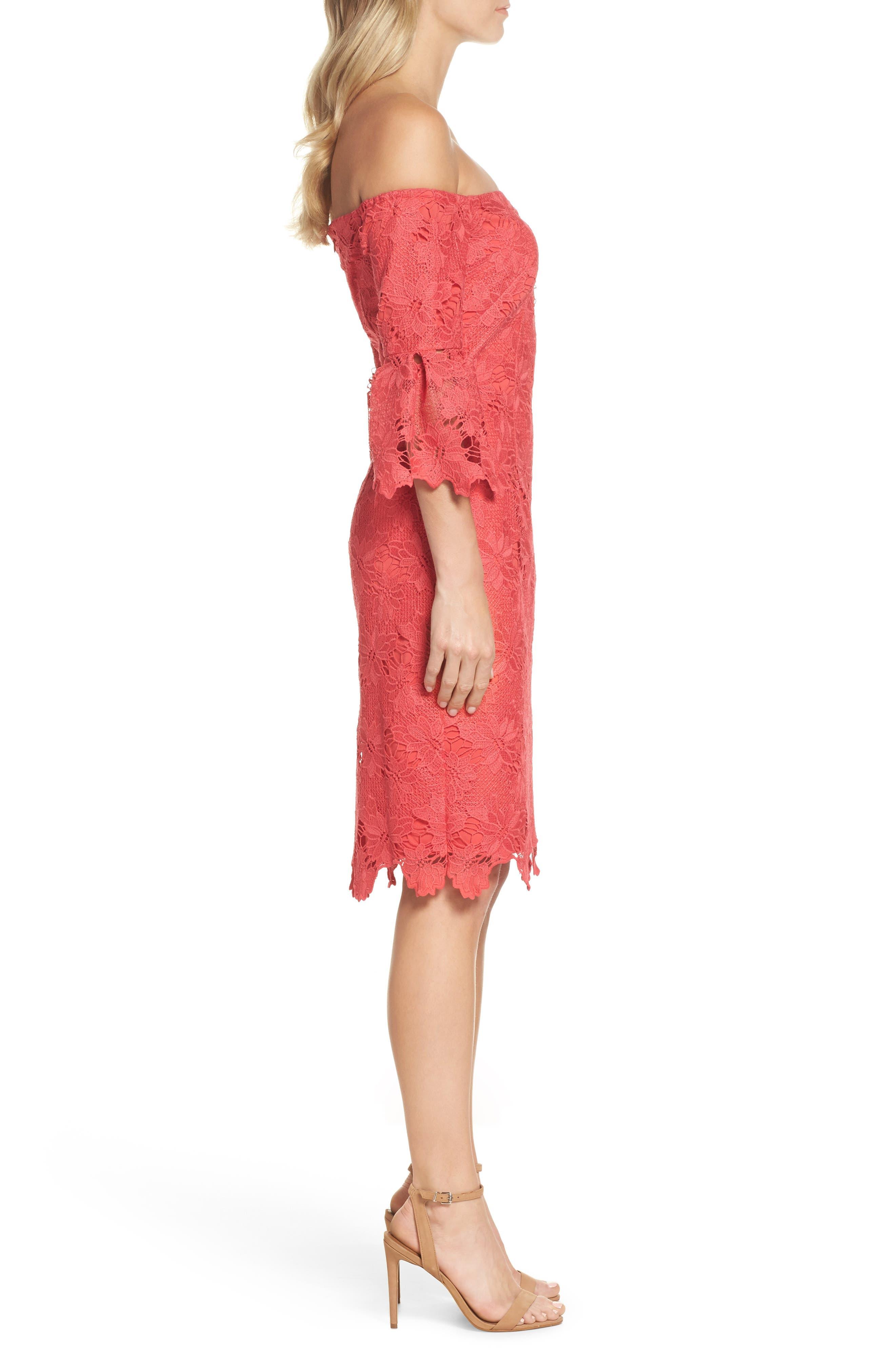 Poppy Off the Shoulder Lace Dress,                             Alternate thumbnail 3, color,                             Poppy