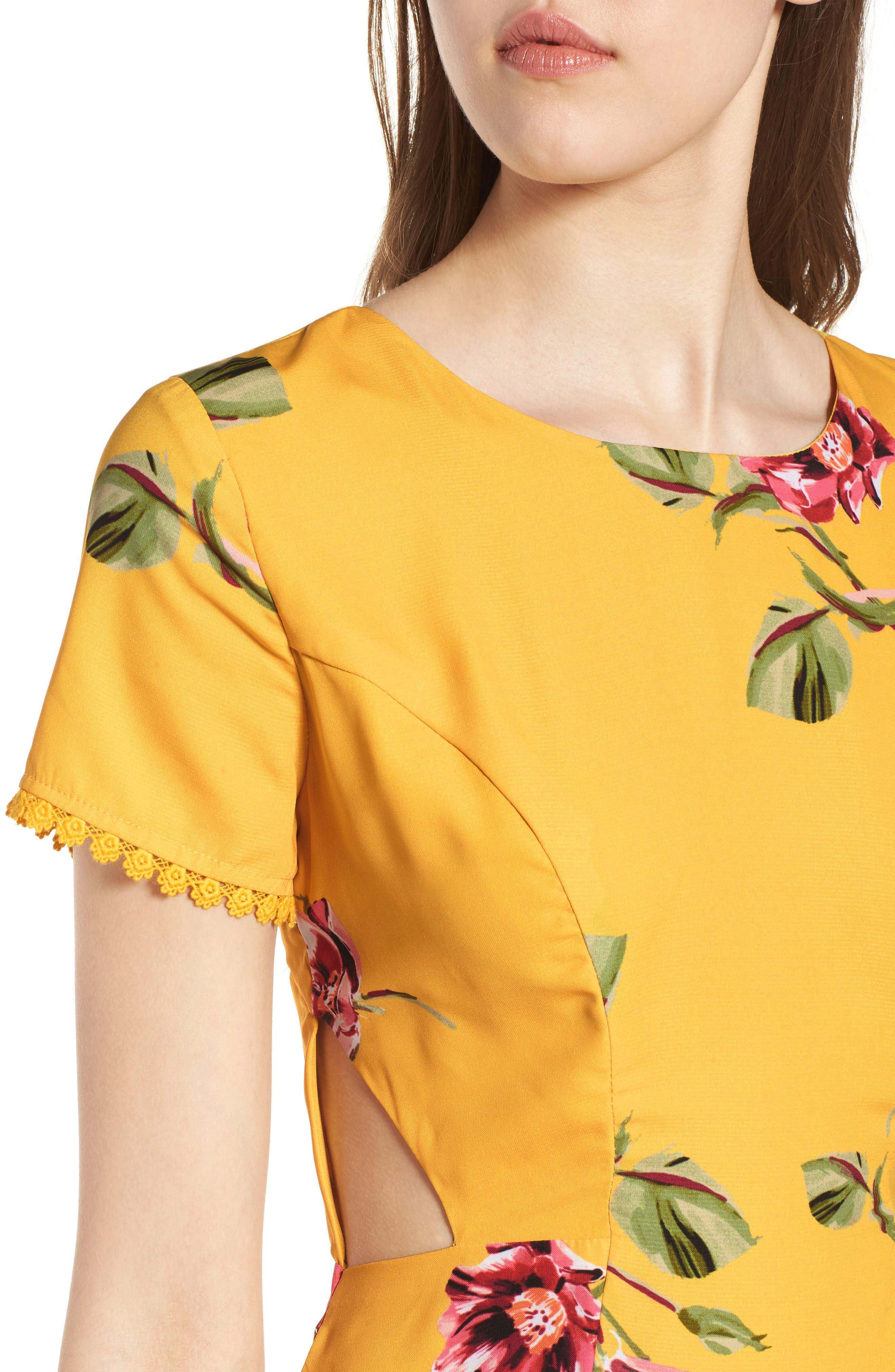 Cutout Fit & Flare Dress,                             Alternate thumbnail 4, color,                             Yellow Floral