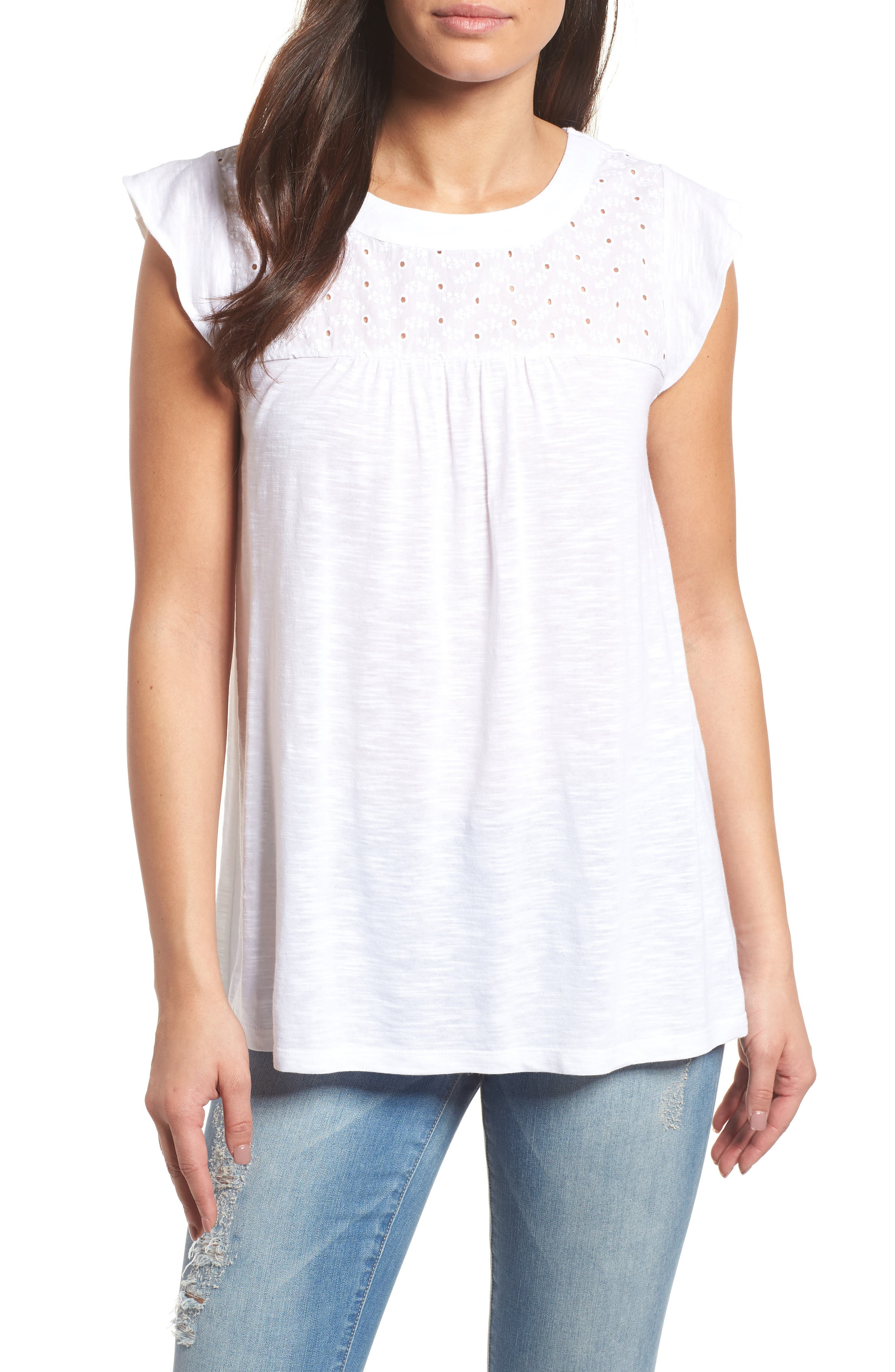 Eyelet Detail Baby Doll Top,                         Main,                         color, White