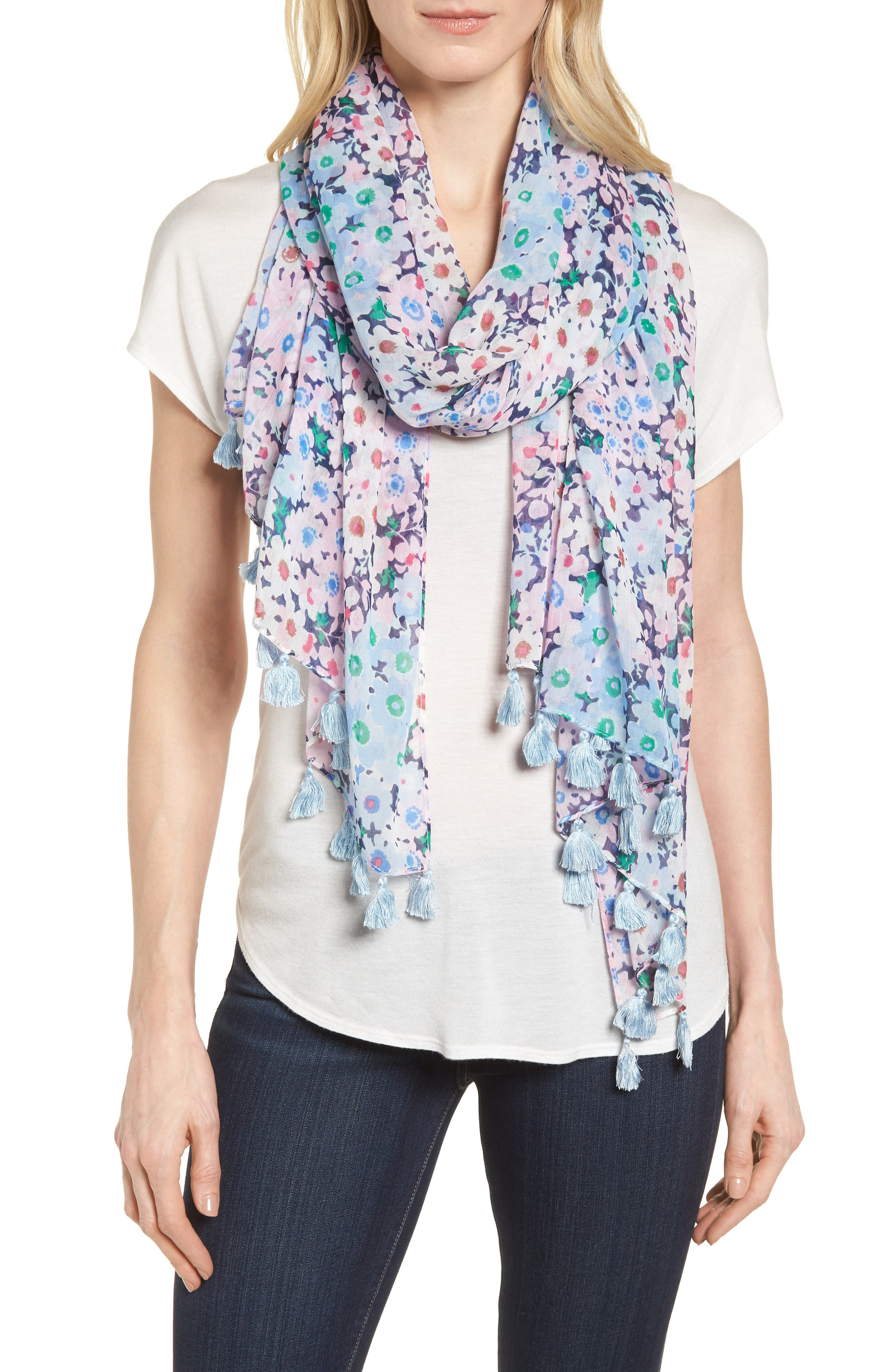 daisy garden cotton scarf,                         Main,                         color, Navy