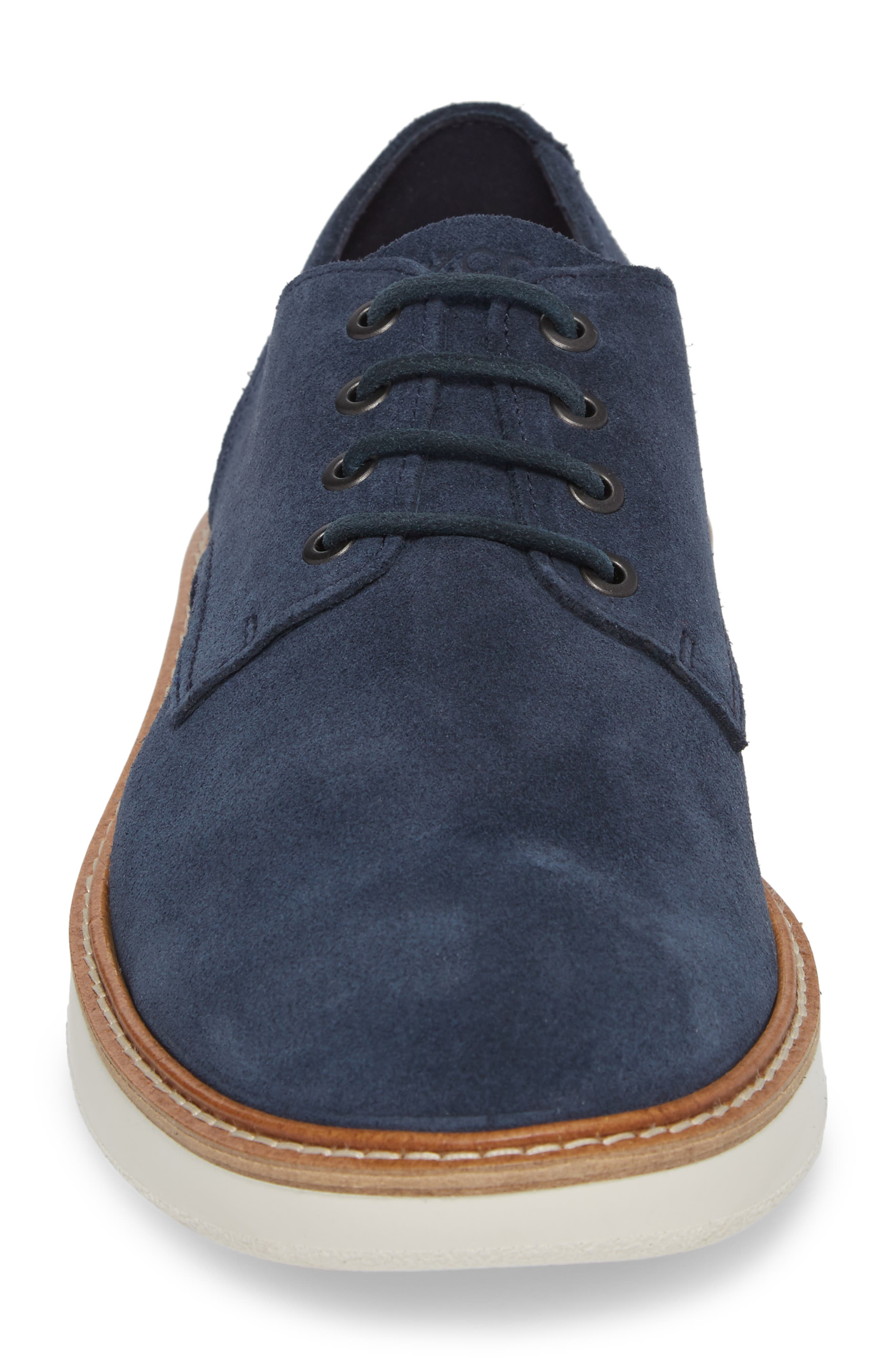 Aurora Hybrid Plain Toe Derby,                             Alternate thumbnail 4, color,                             Marine Leather