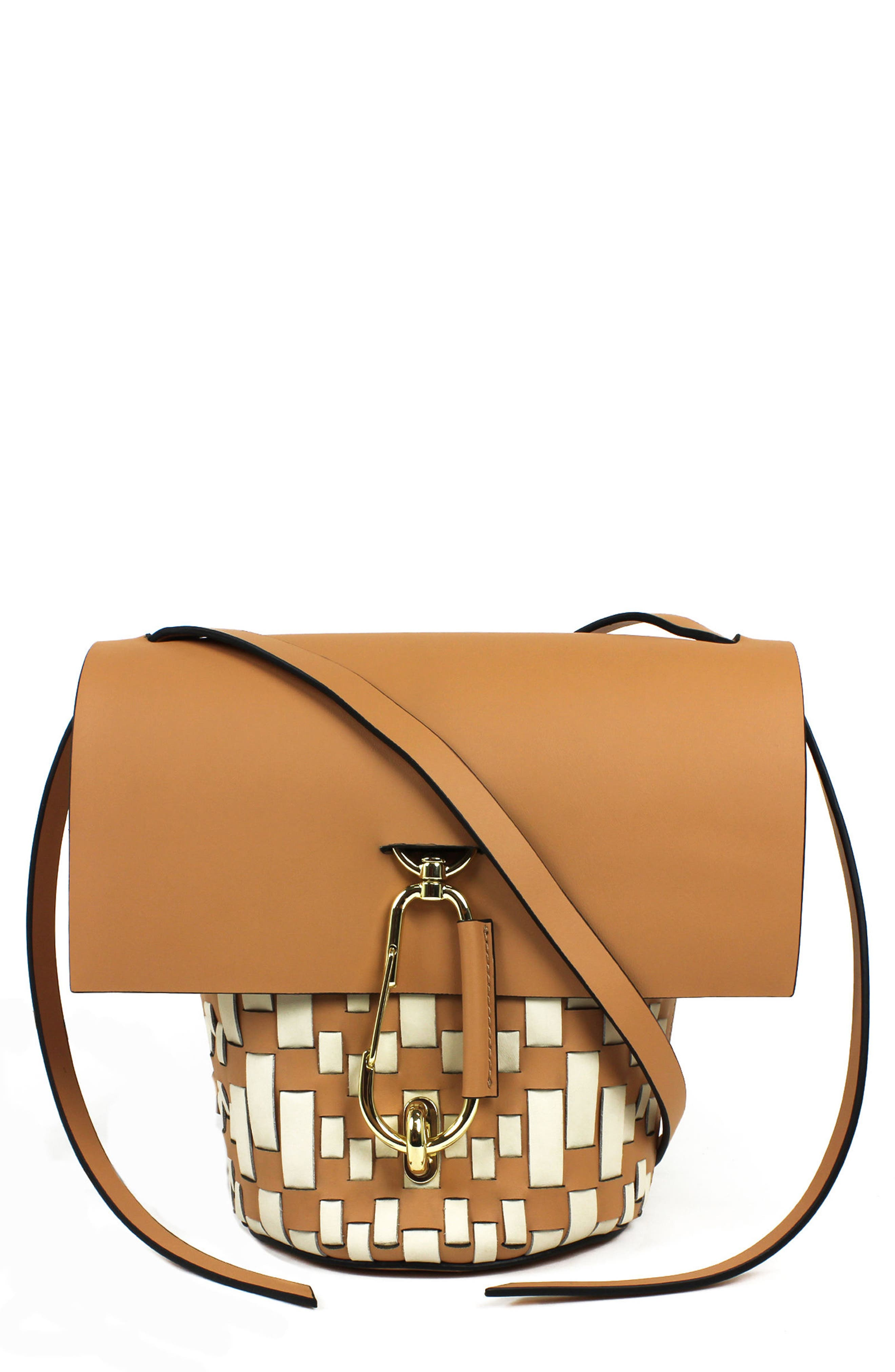 Belay Woven Leather Crossbody Bag,                         Main,                         color, Vachetta