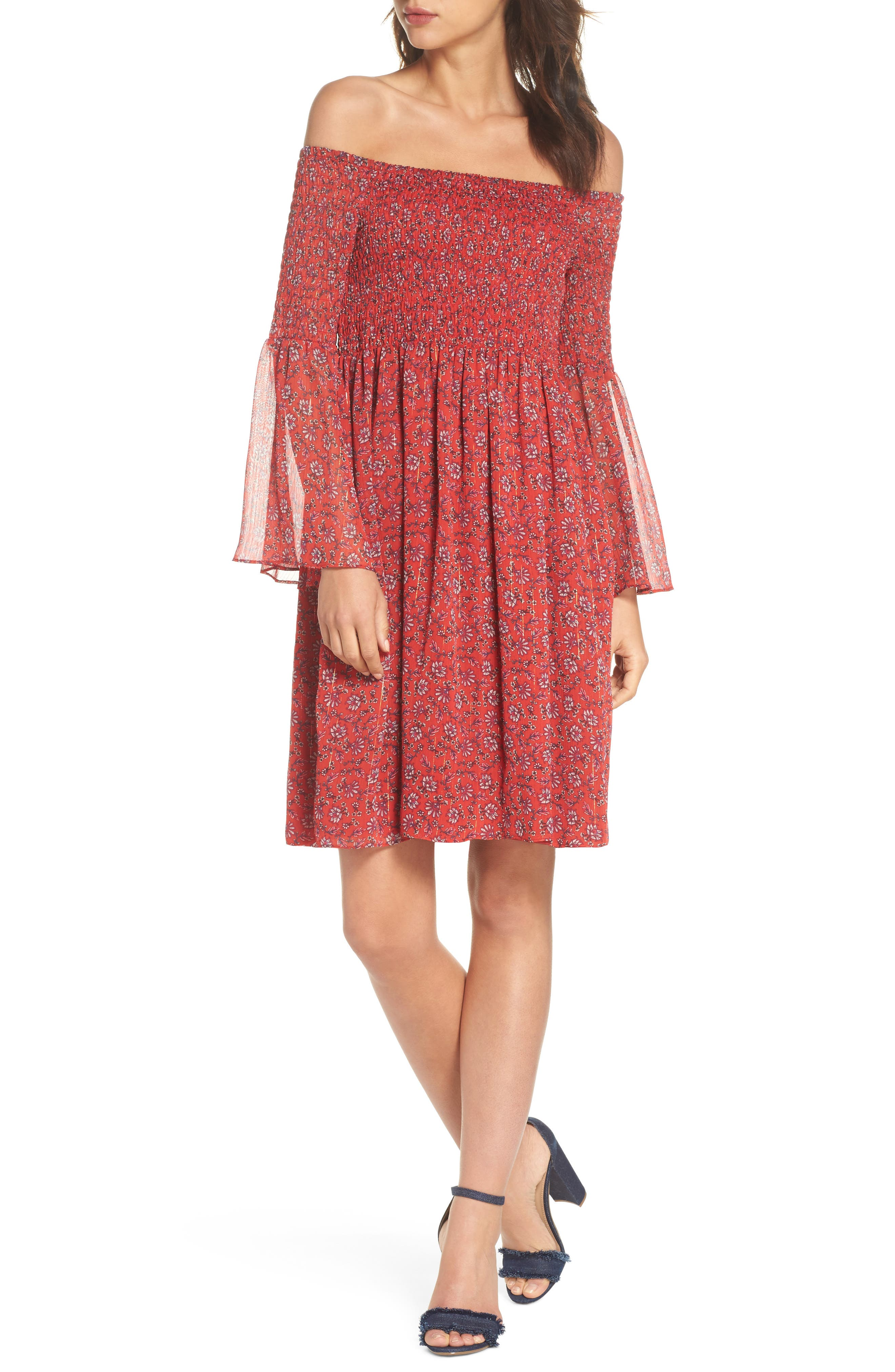 Off the Shoulder Babydoll Dress,                             Main thumbnail 1, color,                             Cayenne