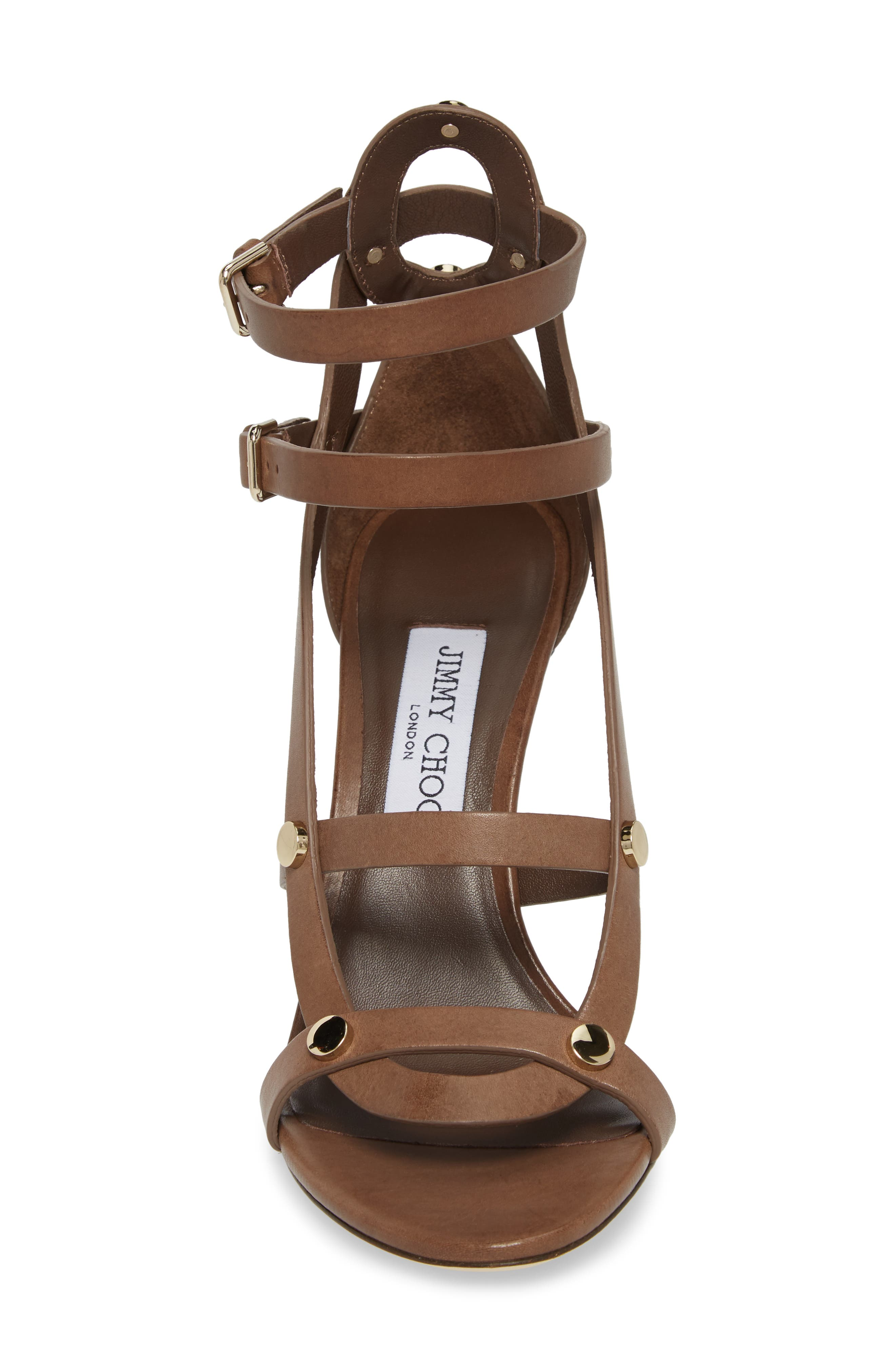 Motoko Studded Cage Sandal,                             Alternate thumbnail 4, color,                             Cacao Brown