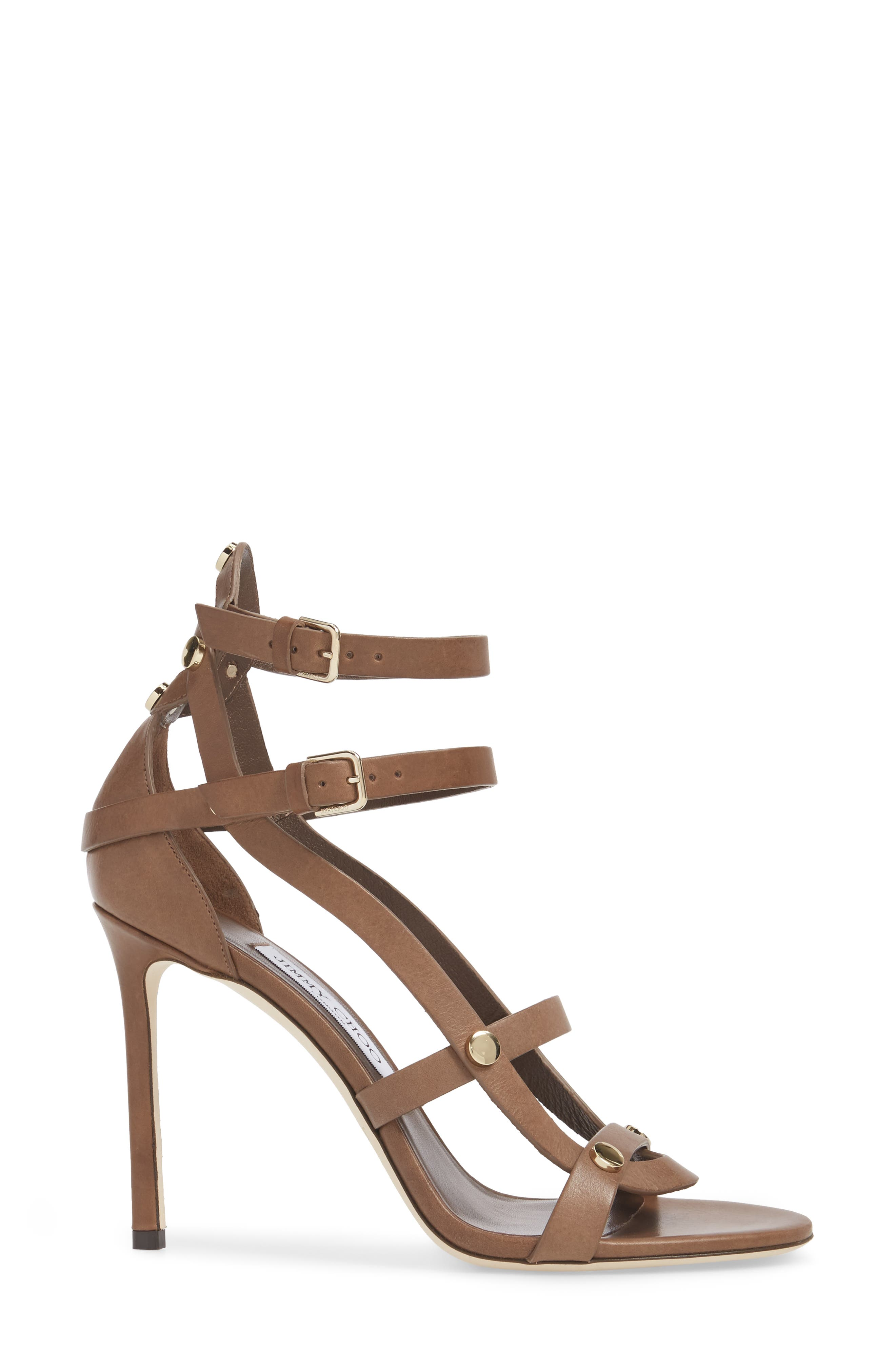 Motoko Studded Cage Sandal,                             Alternate thumbnail 3, color,                             Cacao Brown