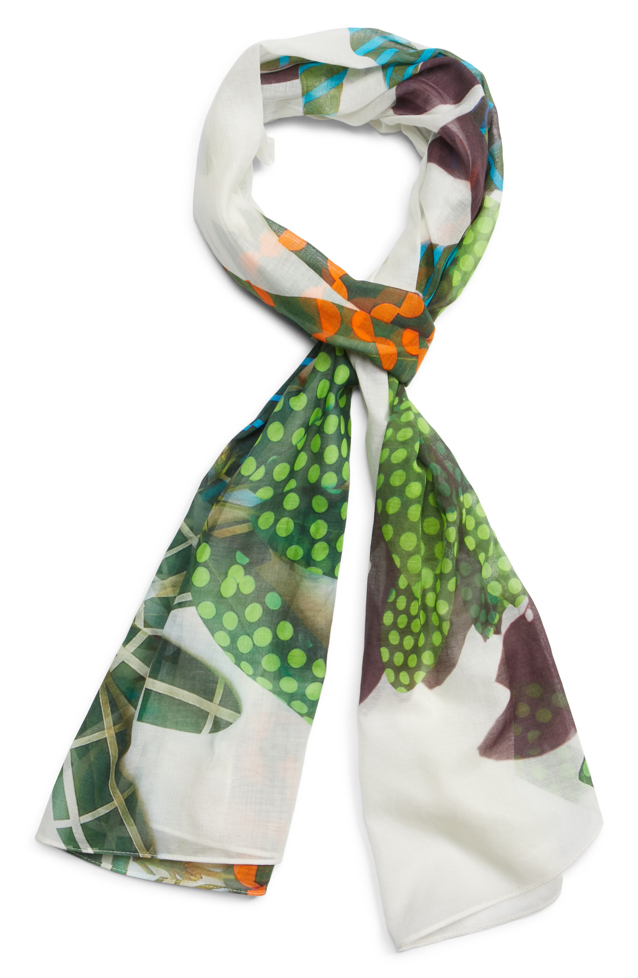 Tropical Print Cotton & Cashmere Scarf,                             Alternate thumbnail 3, color,                             Cream Multi