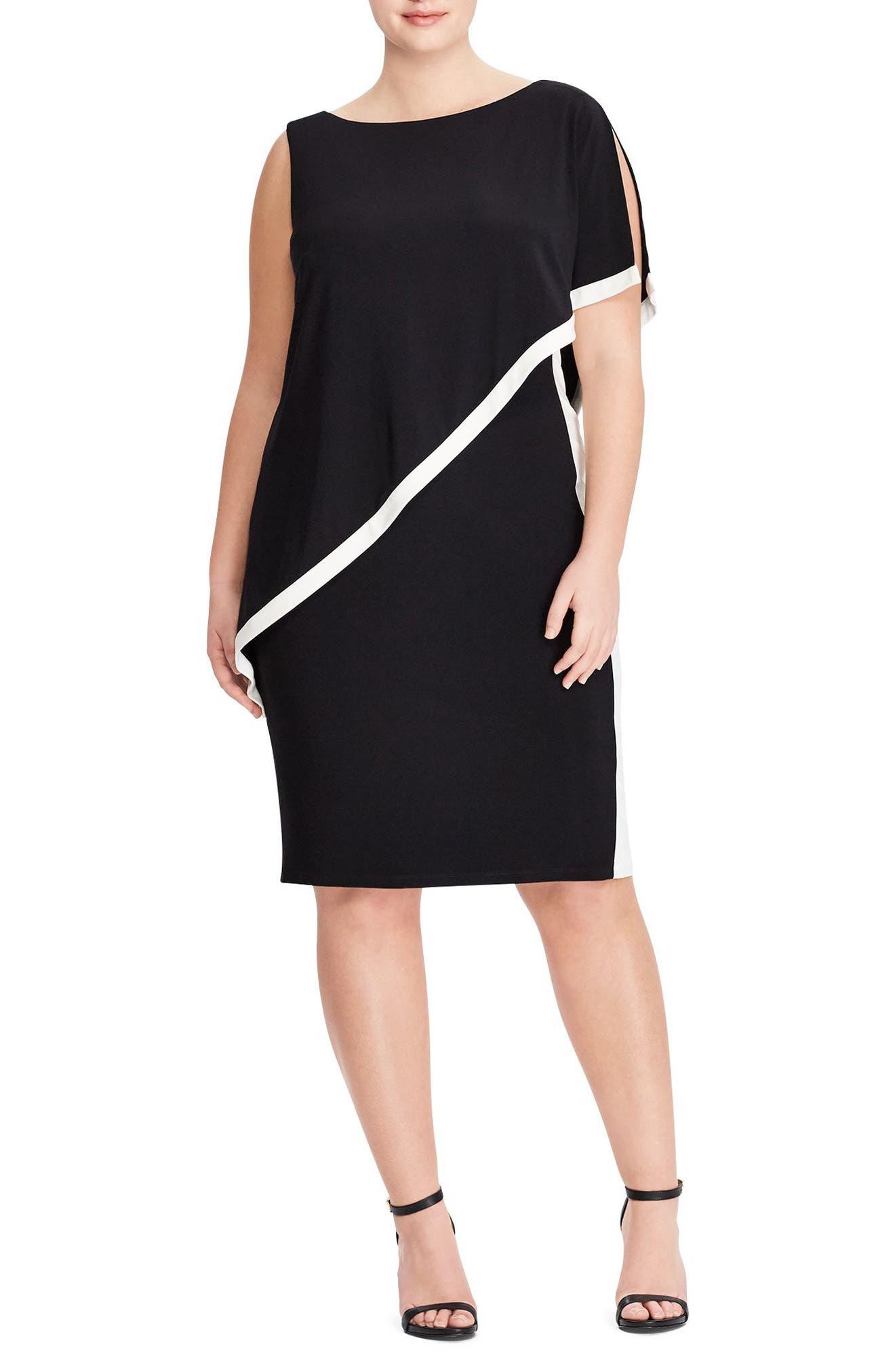 Cape Overlay Sheath Dress,                             Main thumbnail 1, color,                             Black-Lauren White