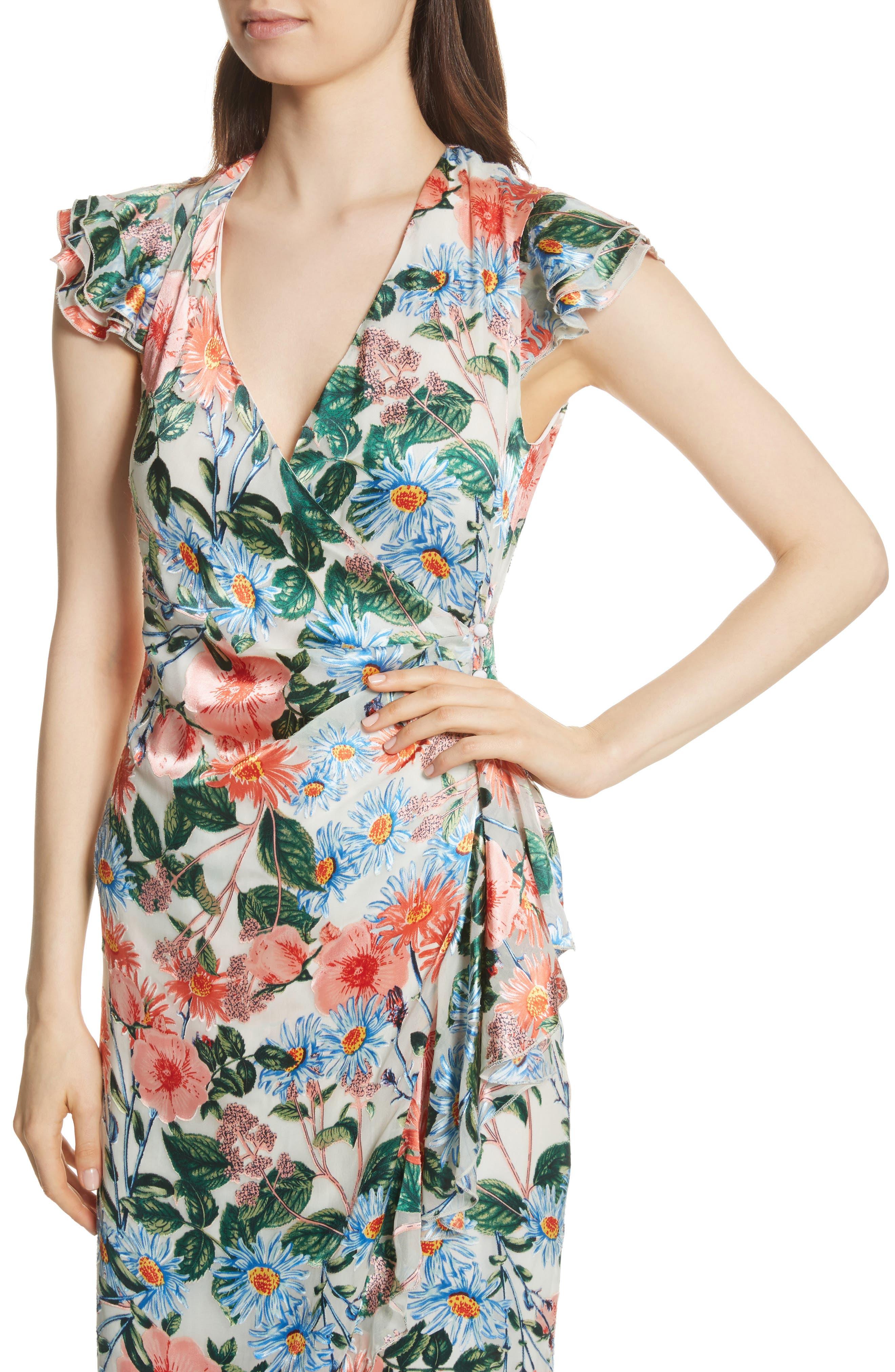 Garnet Floral Wrap Dress,                             Alternate thumbnail 4, color,                             Floral Fields