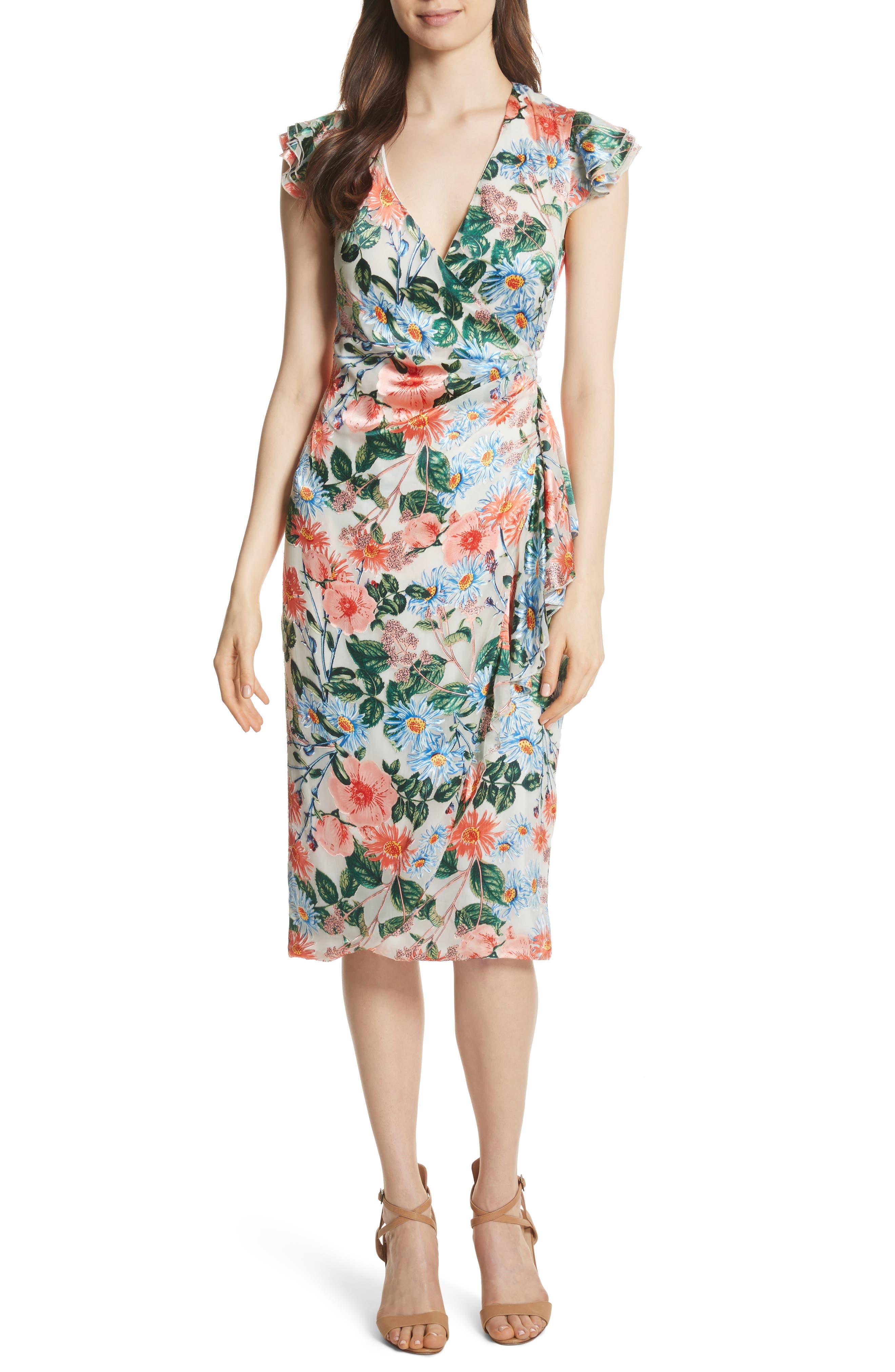 Garnet Floral Wrap Dress,                             Main thumbnail 1, color,                             Floral Fields
