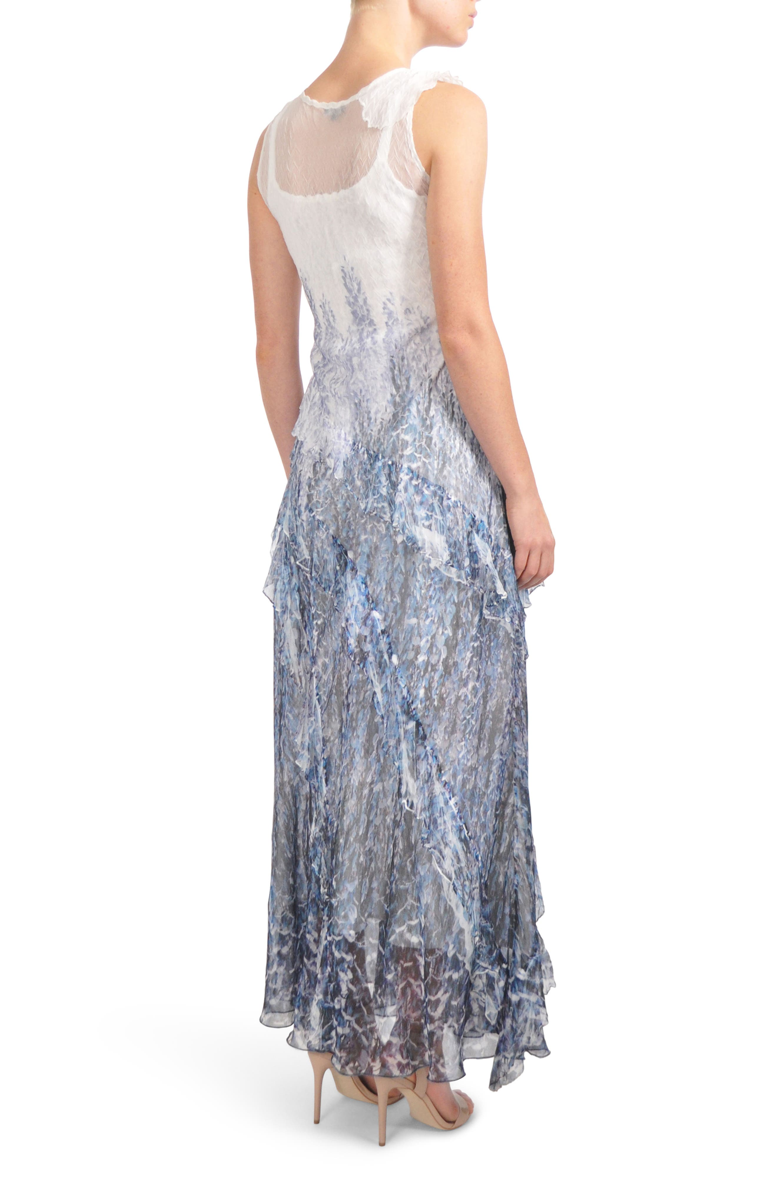 Ruffled Charmeuse & Chiffon Gown with Wrap,                             Alternate thumbnail 2, color,                             Lupine Fields