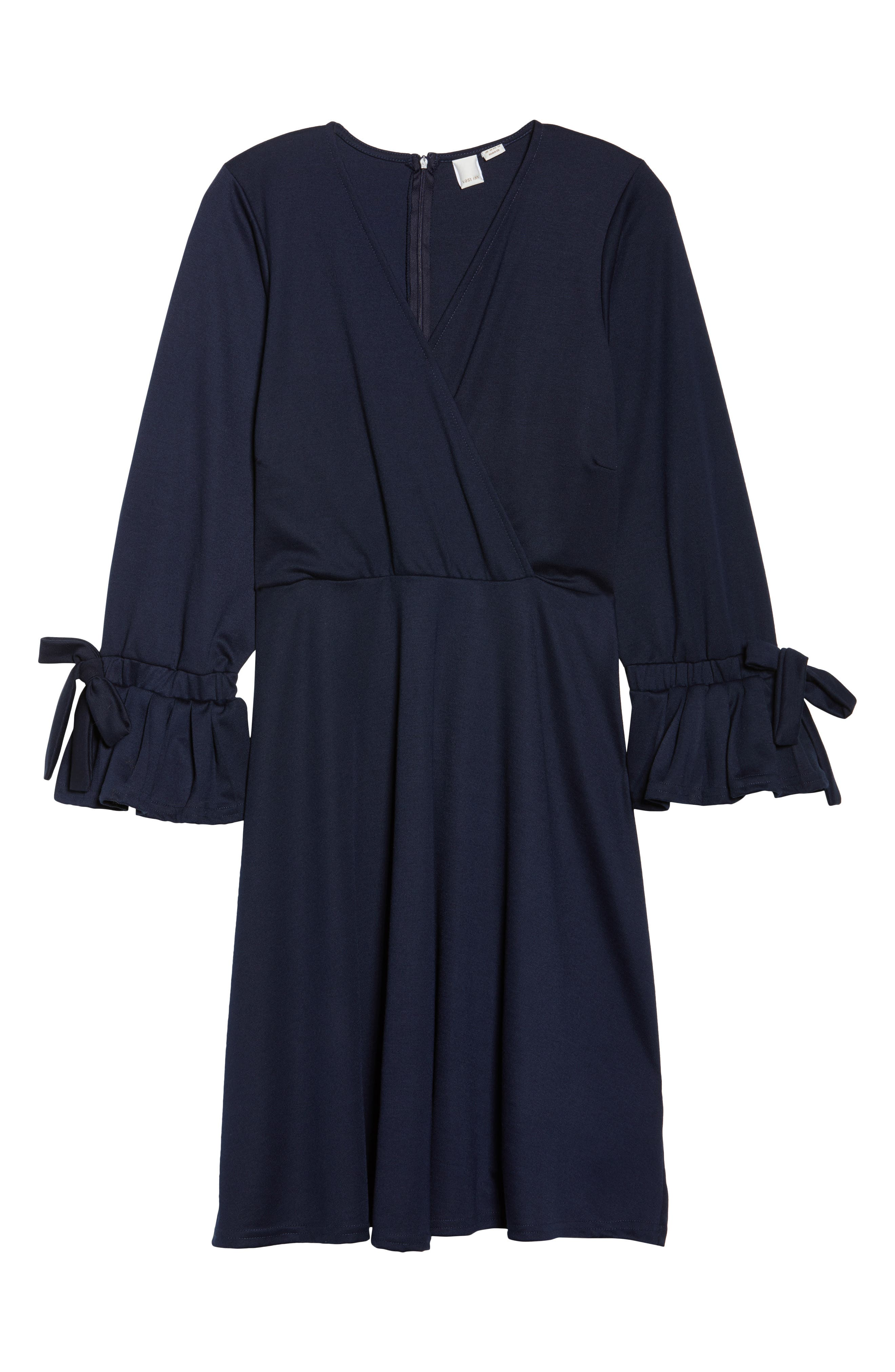 Bell Sleeve Fit & Flare Dress,                             Alternate thumbnail 6, color,                             Navy