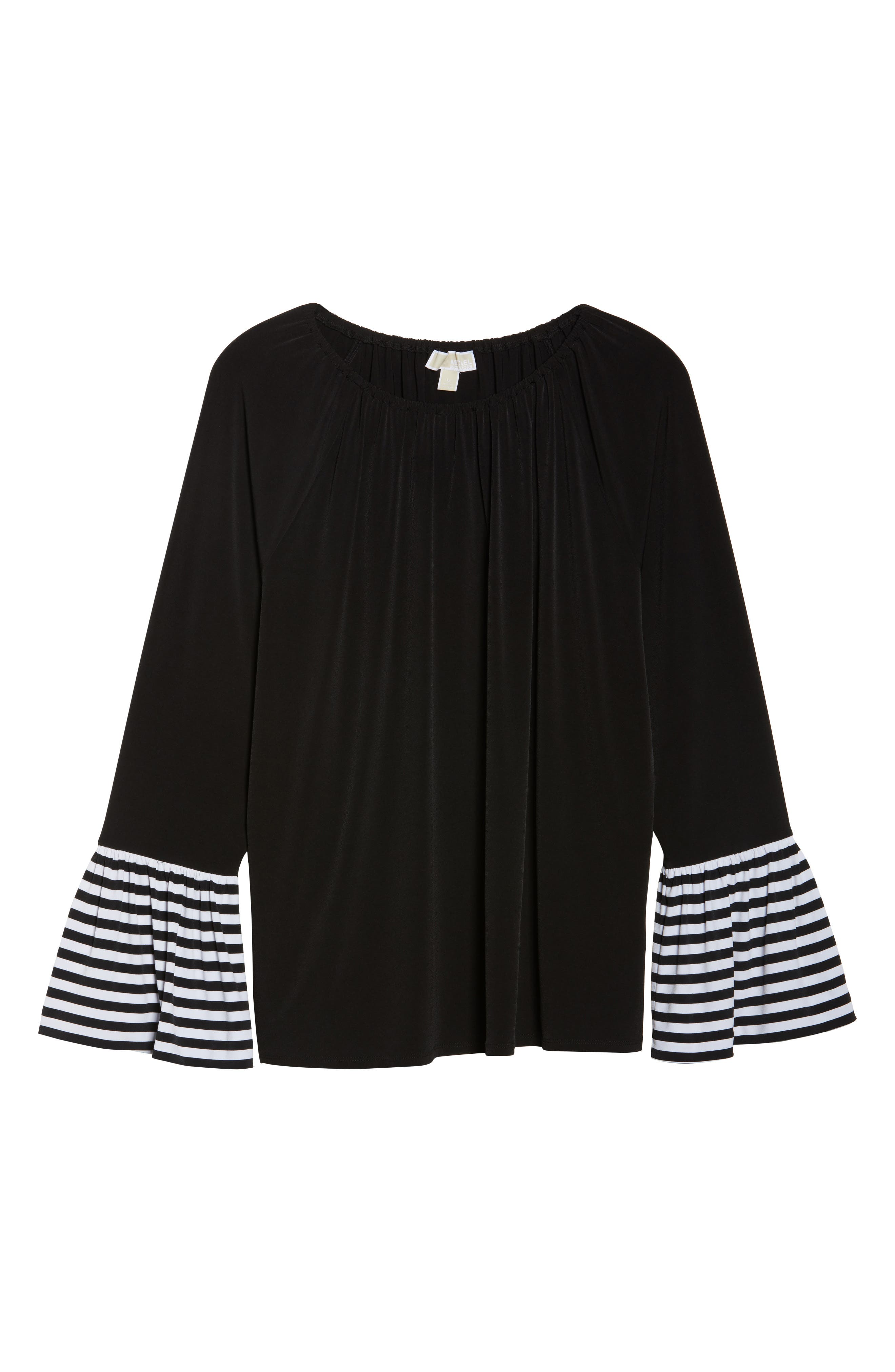 Stripe Bell Sleeve Top,                             Alternate thumbnail 7, color,                             Black