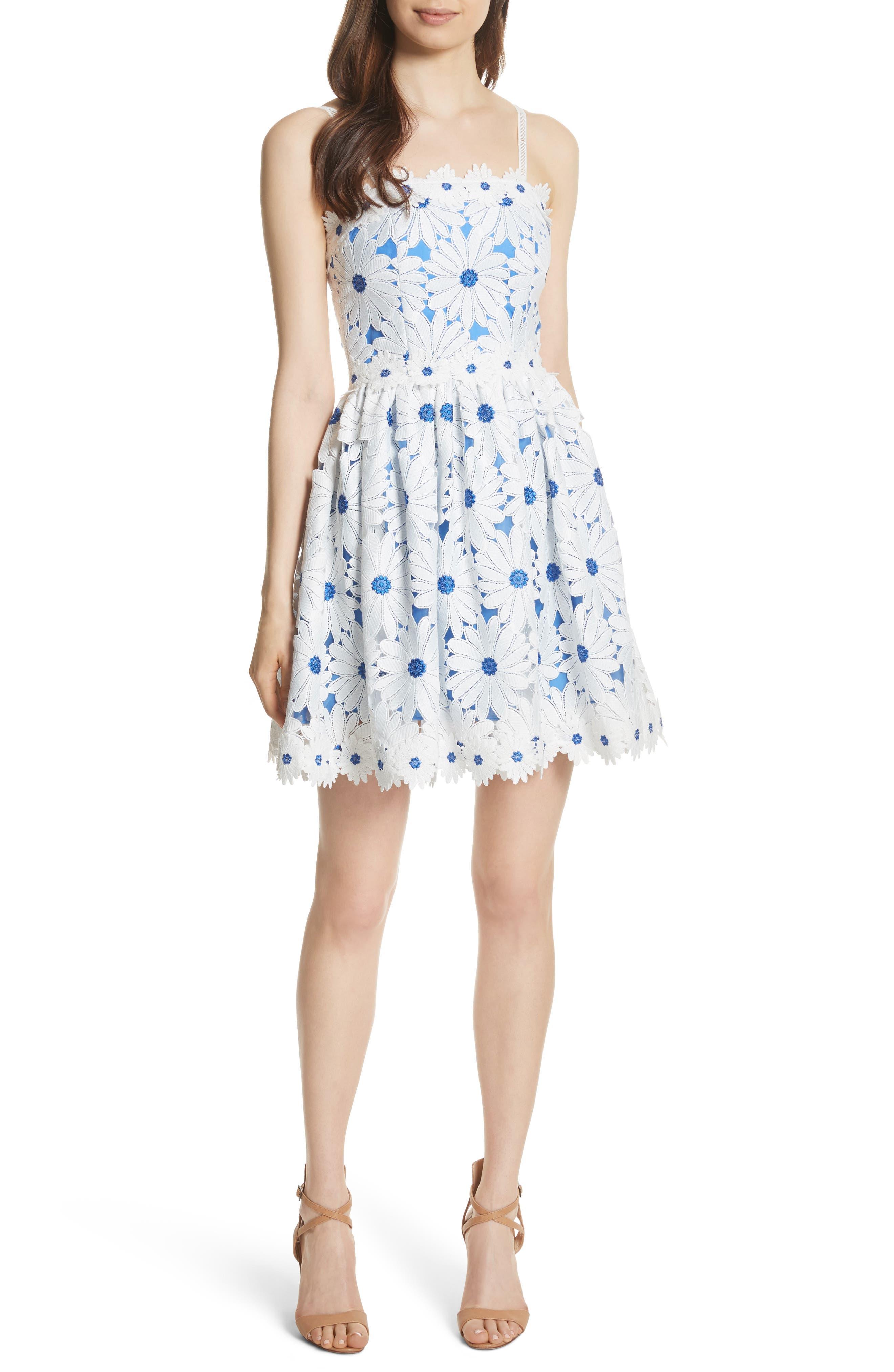 Vandy Lace Minidress,                         Main,                         color, White/ Blue