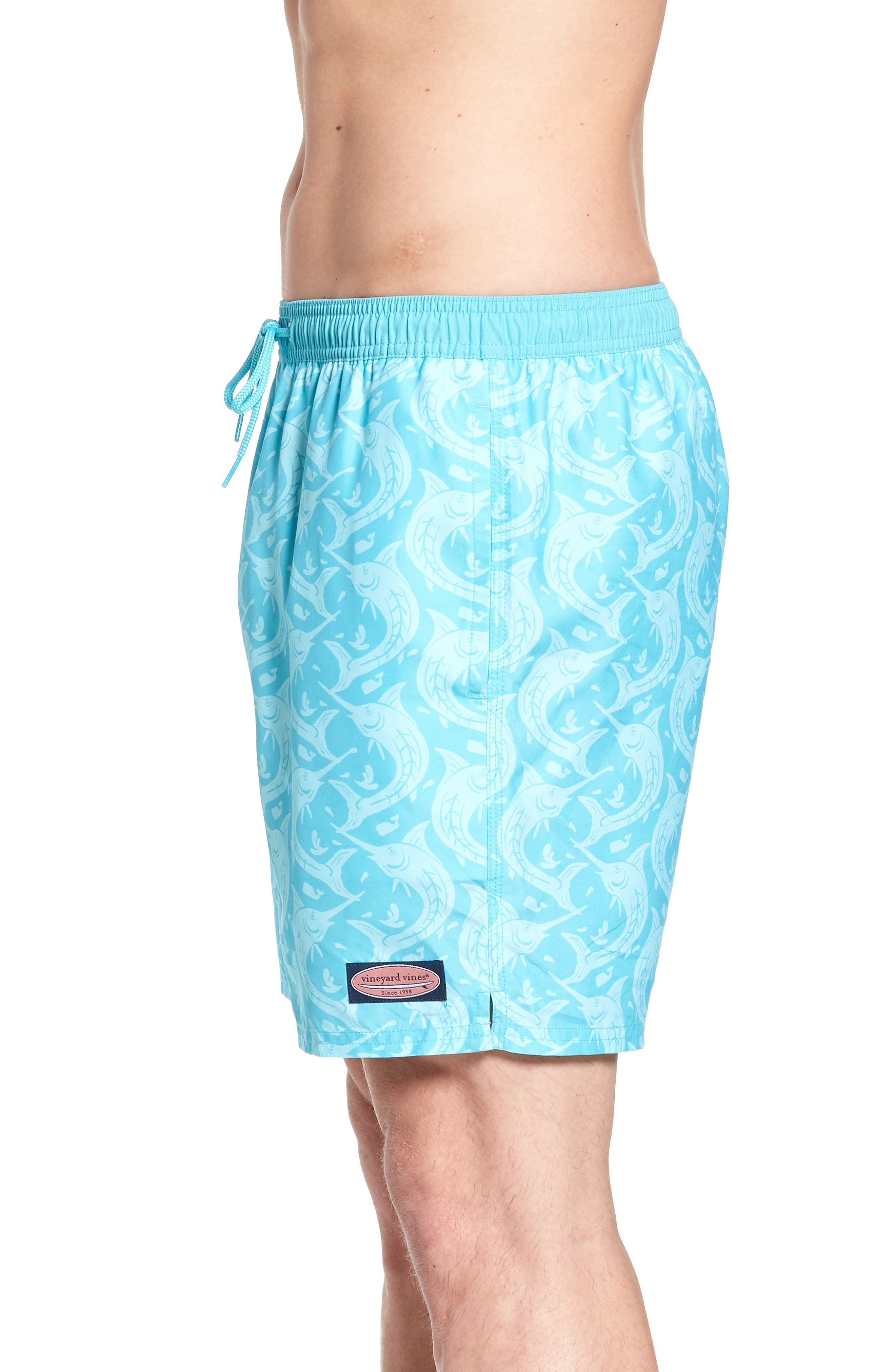 Marlin Out of Water Chappy Swim Trunks,                             Alternate thumbnail 3, color,                             Turquoise