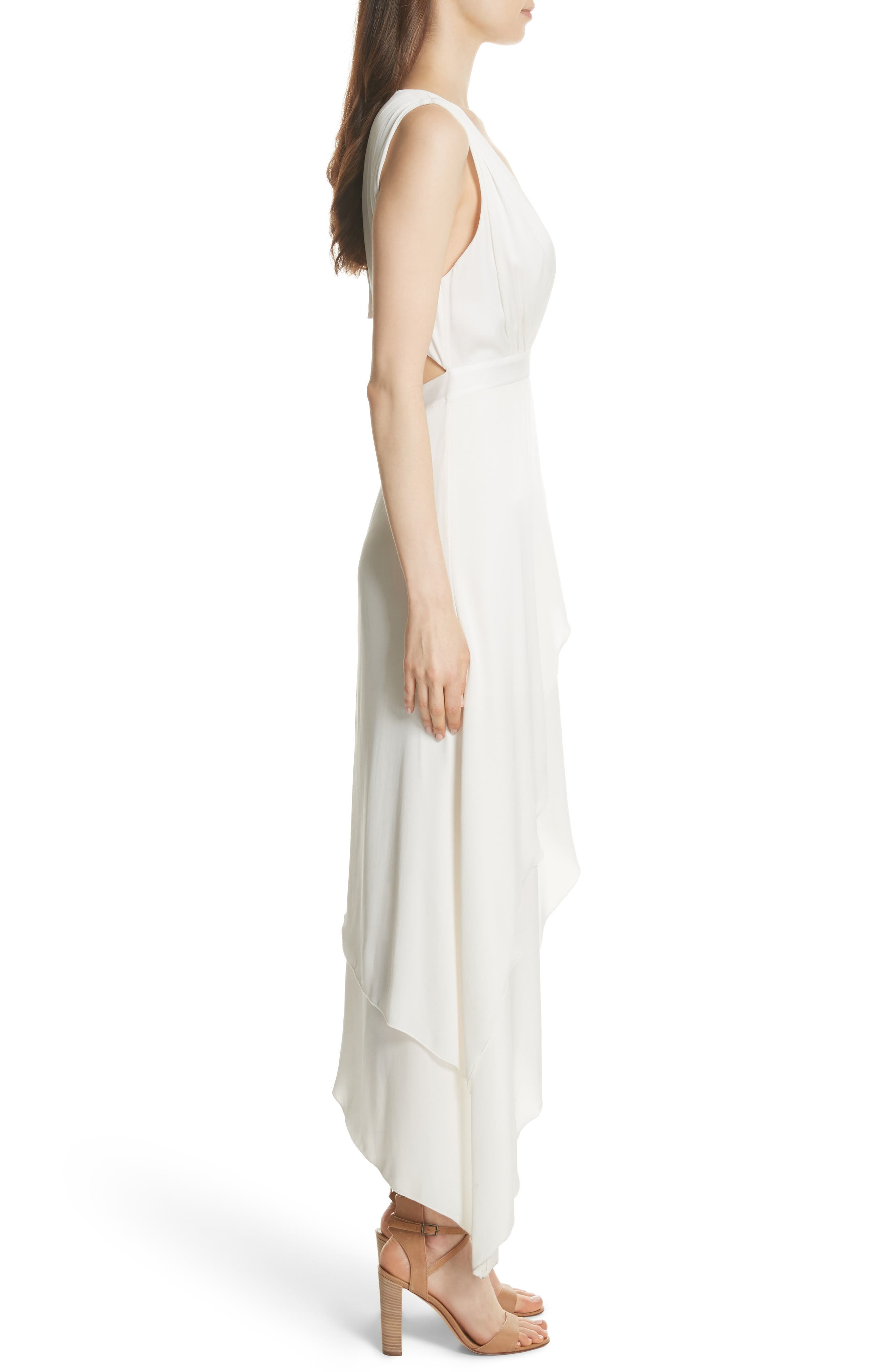 Chantay Asymmetrical Plunging Maxi Dress,                             Alternate thumbnail 3, color,                             Off White