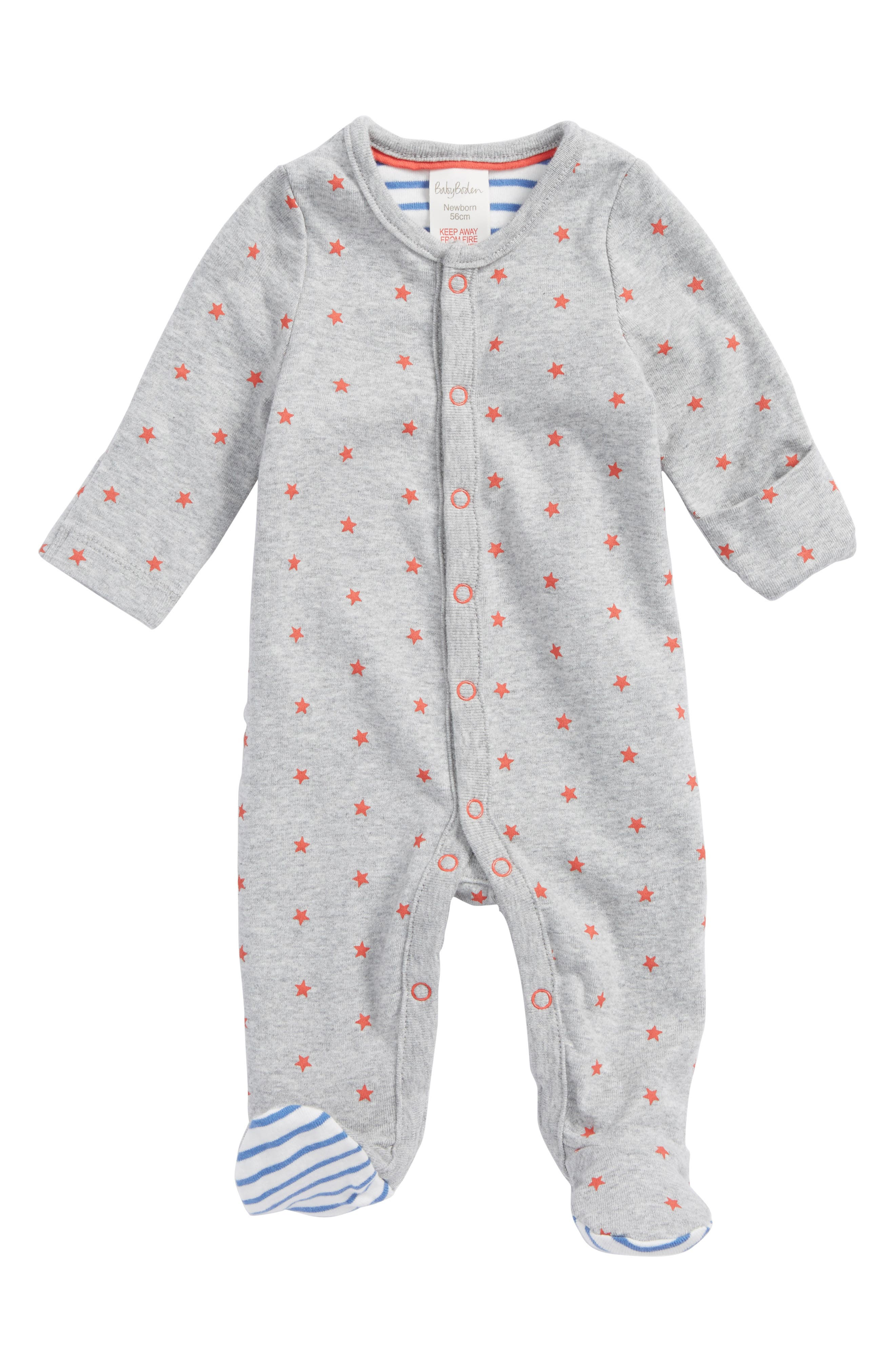 Print Organic Cotton One-Piece Pajamas,                             Main thumbnail 1, color,                             Grey Marl/ Crayon Red