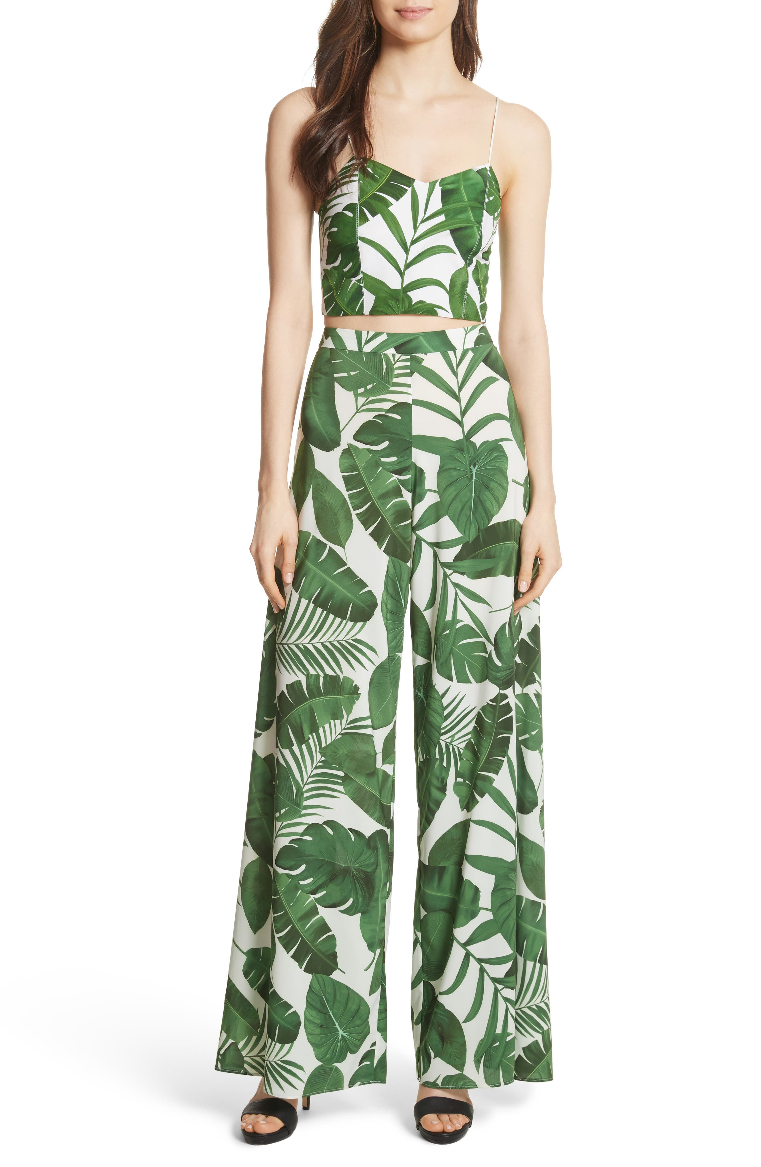 Archer Crop Silk Camisole,                             Alternate thumbnail 7, color,                             Tropical Leaves