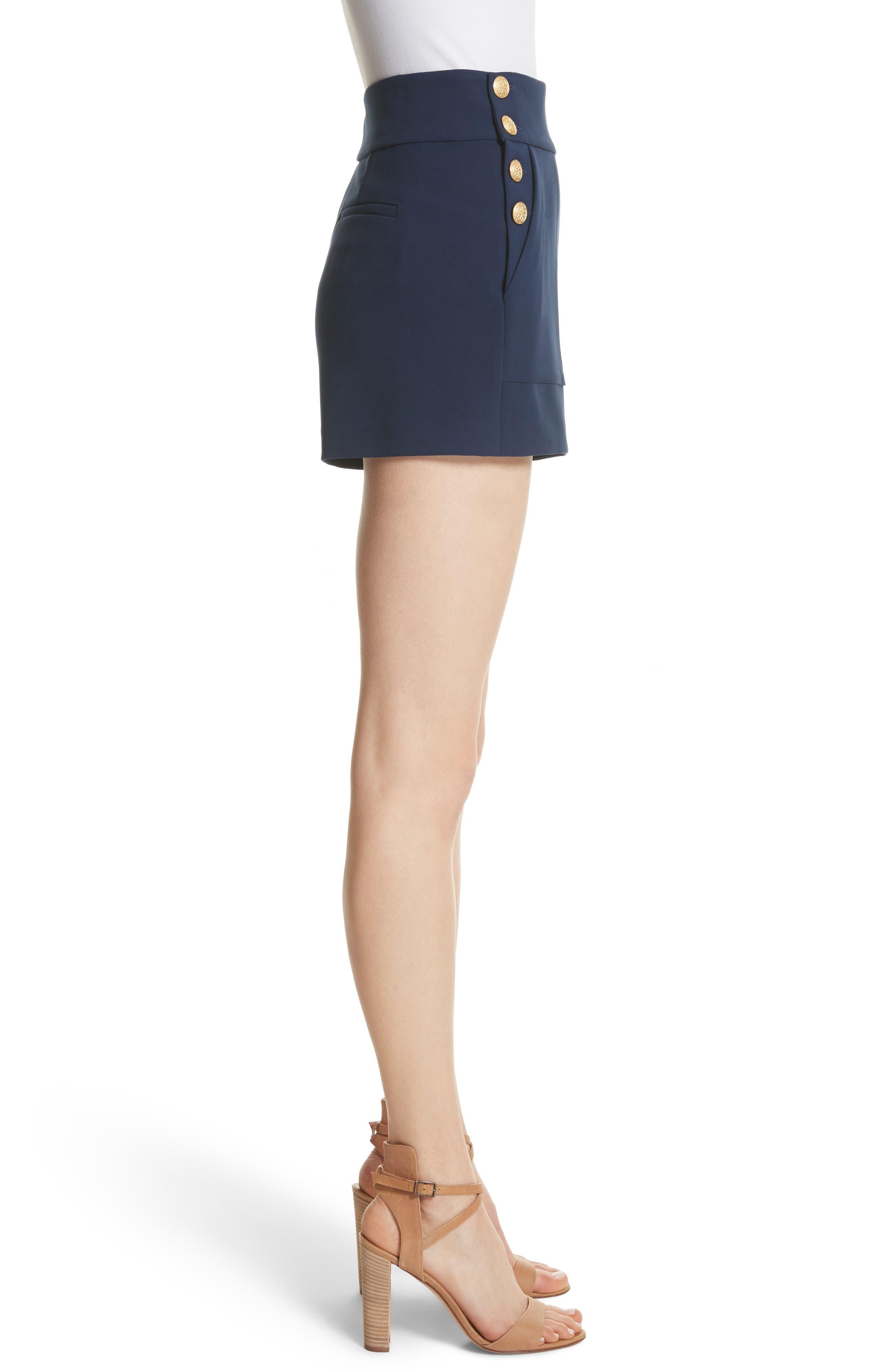 Donald High Waist Sailor Shorts,                             Alternate thumbnail 3, color,                             Sapphire