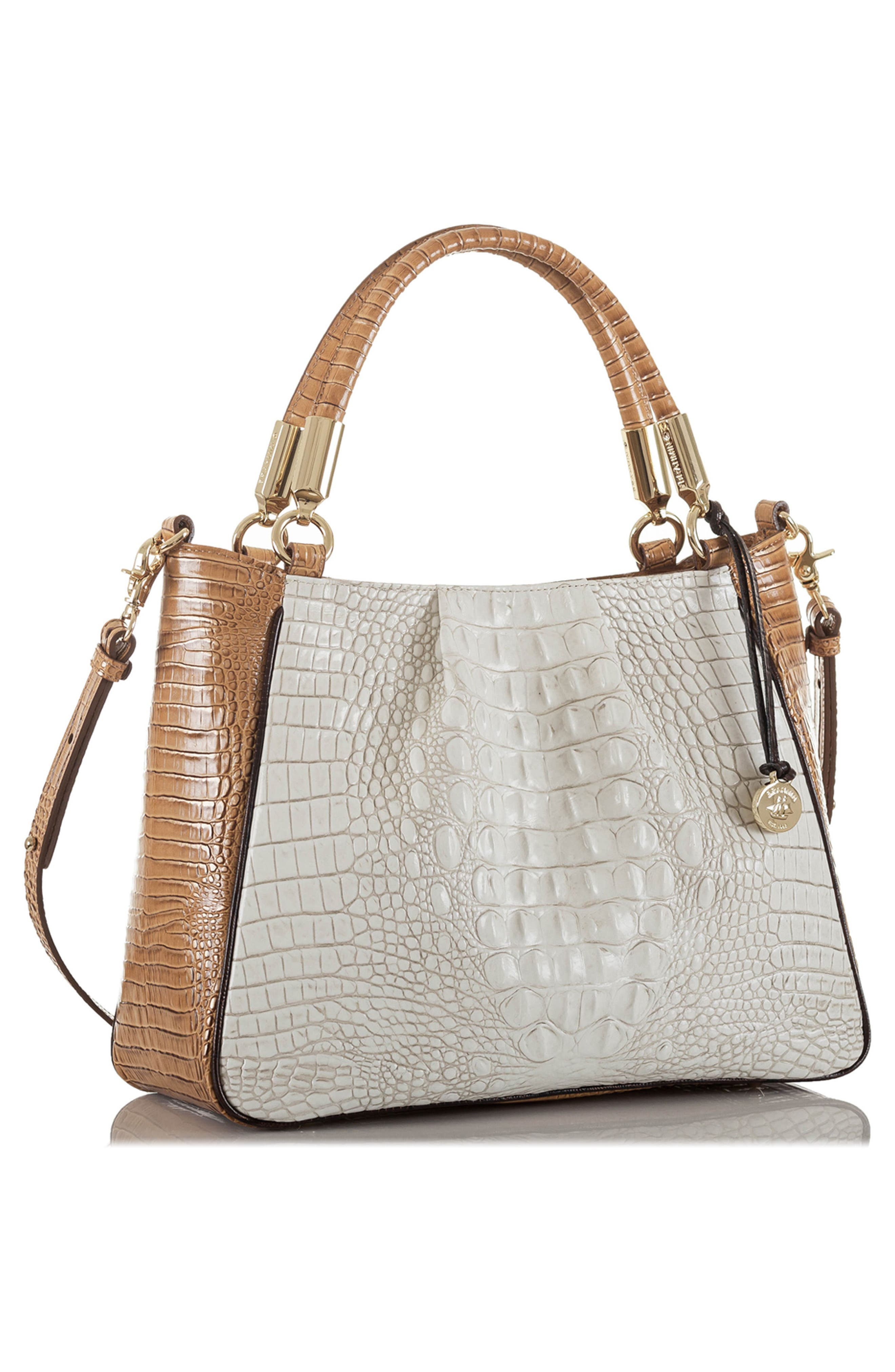 Ruby Croc Embossed Leather Satchel,                             Alternate thumbnail 4, color,                             Coconut Kedima