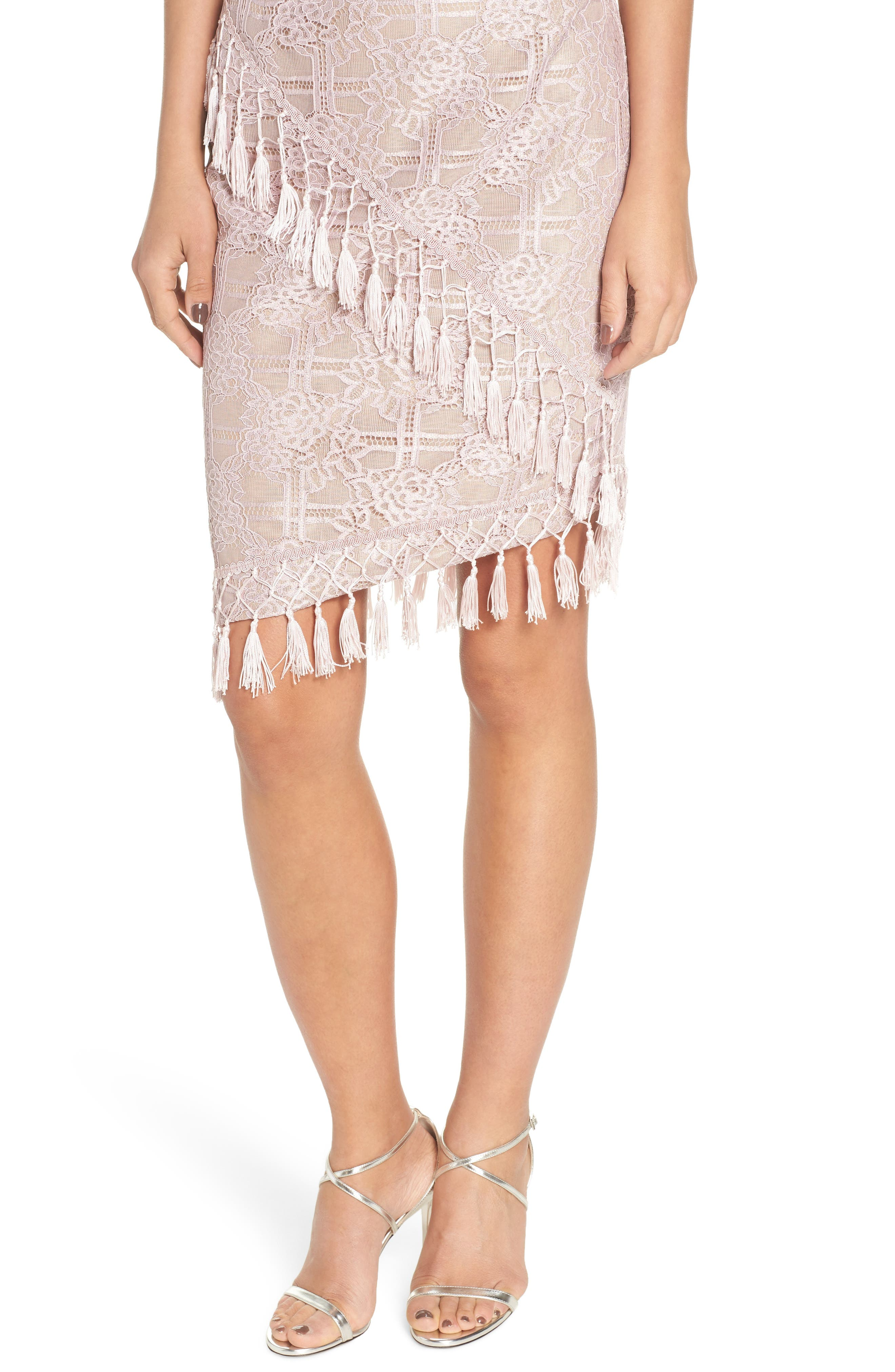 Natasha Asymmetrical Lace Dress,                             Alternate thumbnail 4, color,                             Blush