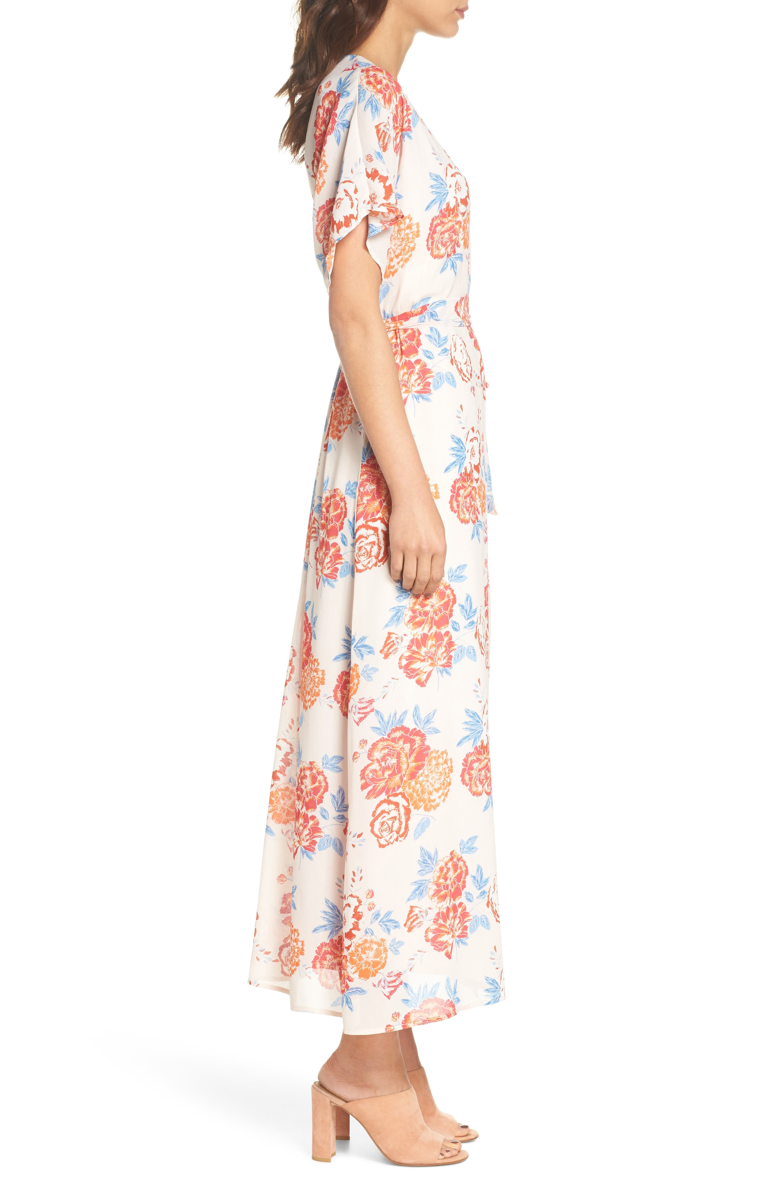 Floral Tie Waist Maxi Dress,                             Alternate thumbnail 3, color,                             Pink/ Coral Multi