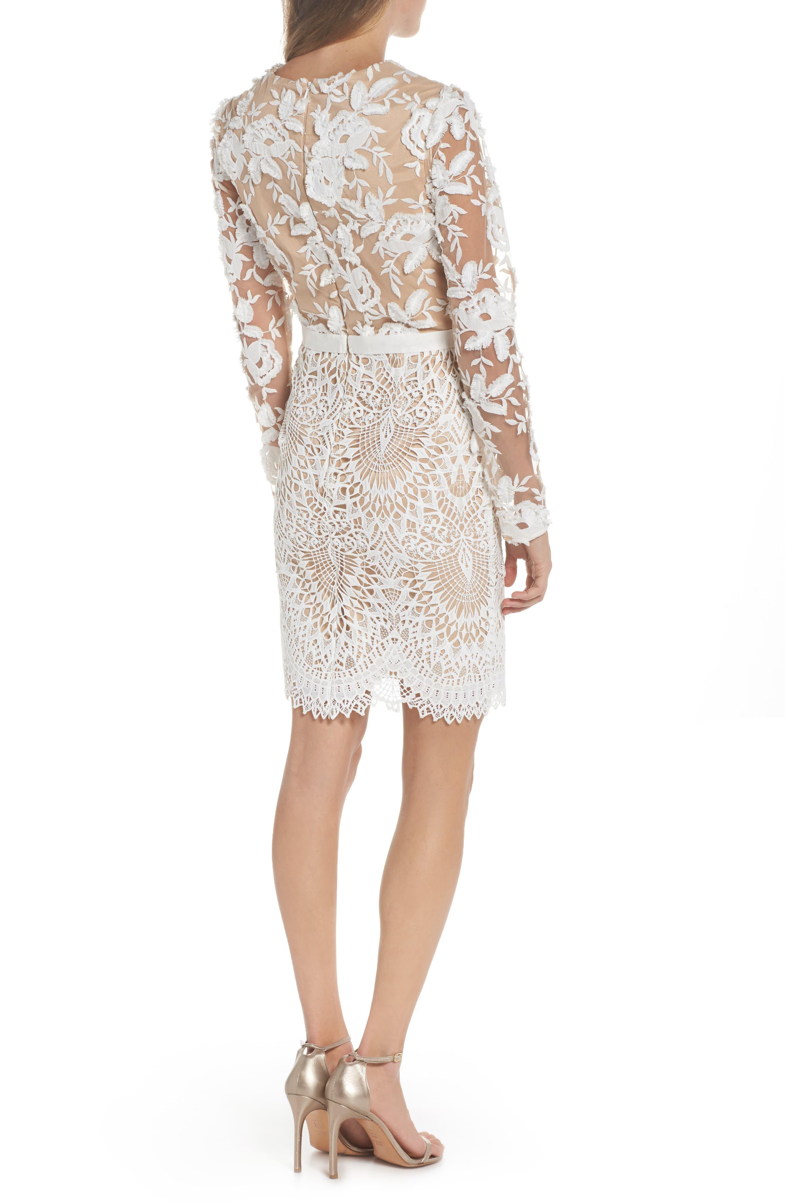 Calypso Lace Sheath Dress,                             Alternate thumbnail 2, color,                             Ivory Nude