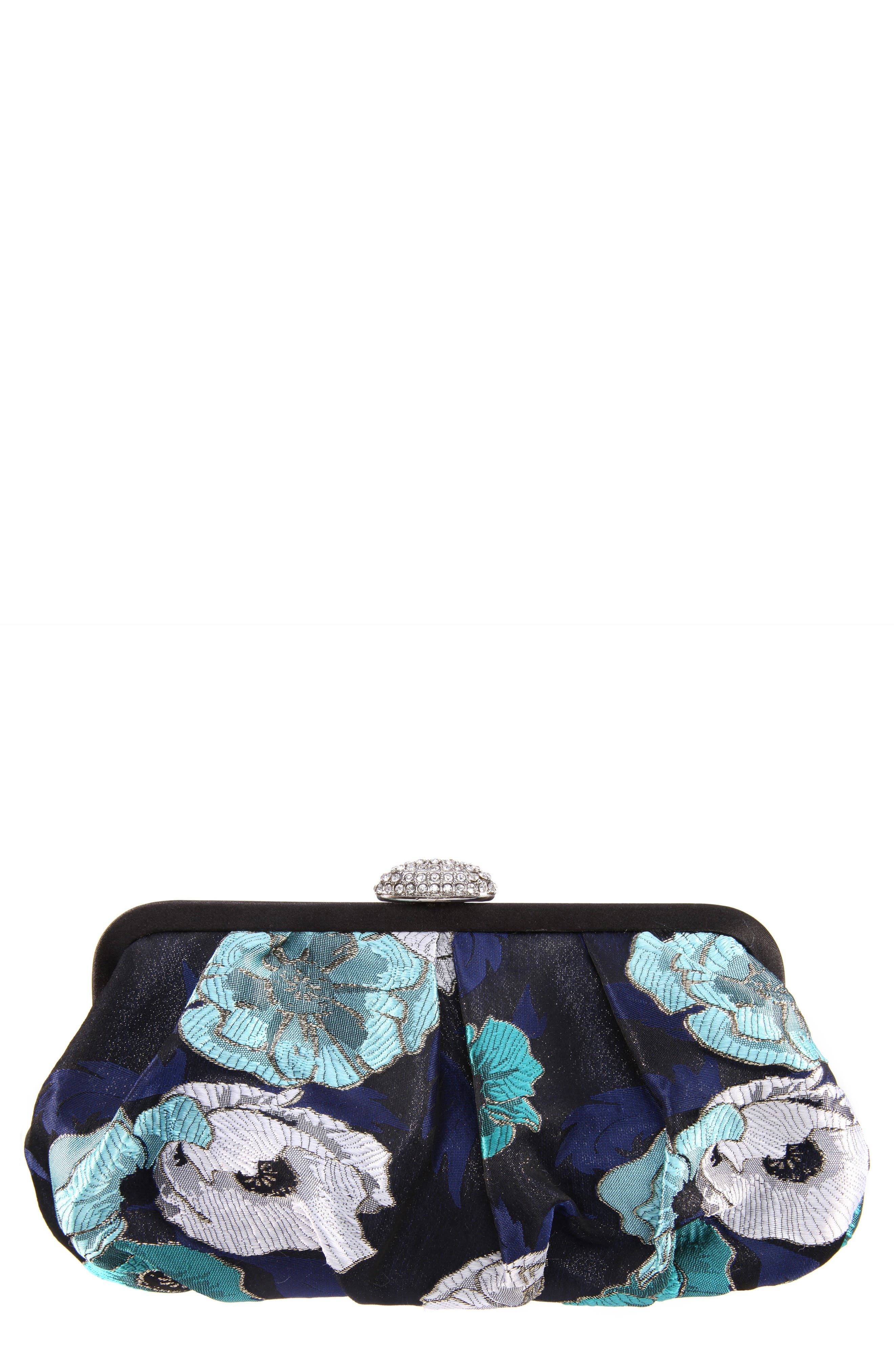 Manila Pleated Brocade Frame Clutch,                             Main thumbnail 1, color,                             Navy Multi